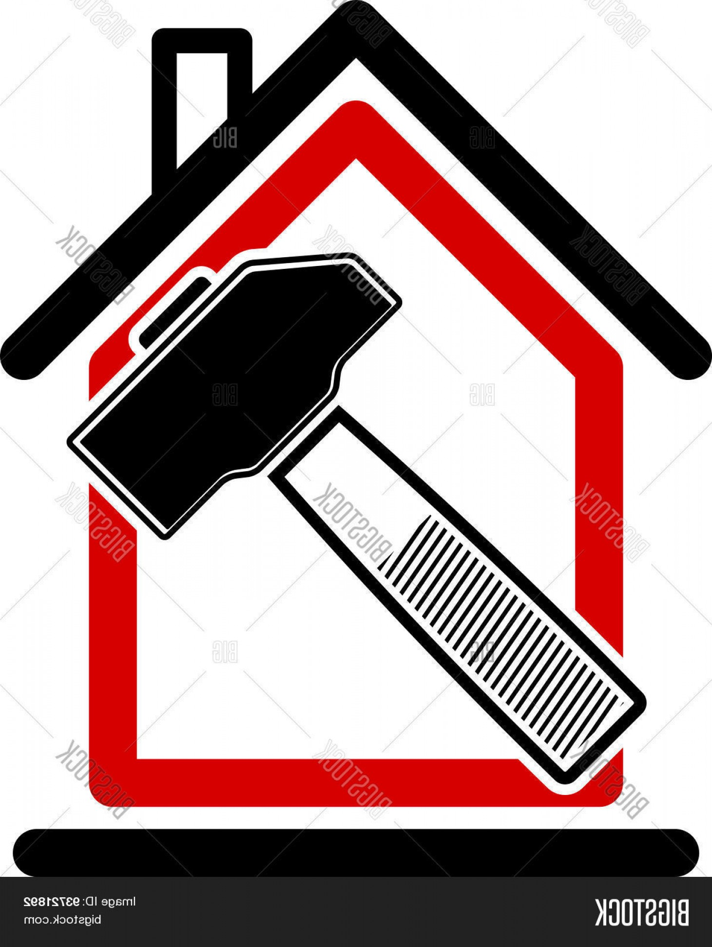 Workshop Icon Vector: Stock Vector Classic Mallet Iconc Industrial Utensil Simple House With Work Toolsc Workshop Home Reconstruction