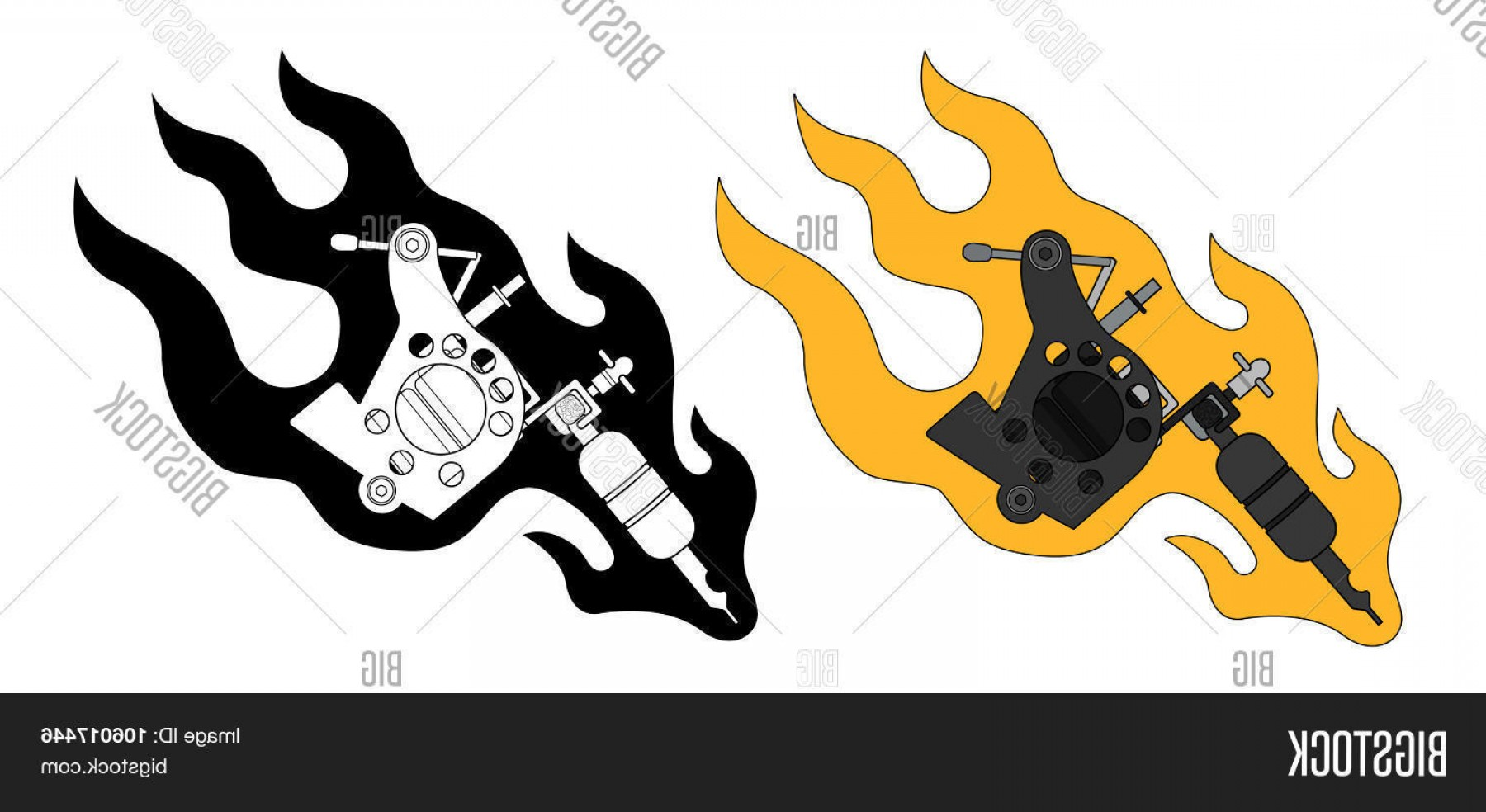 Tattoo Machine Vector Clip Art: Stock Vector Classic Tattoo Machine In Flame Color And Silhouette