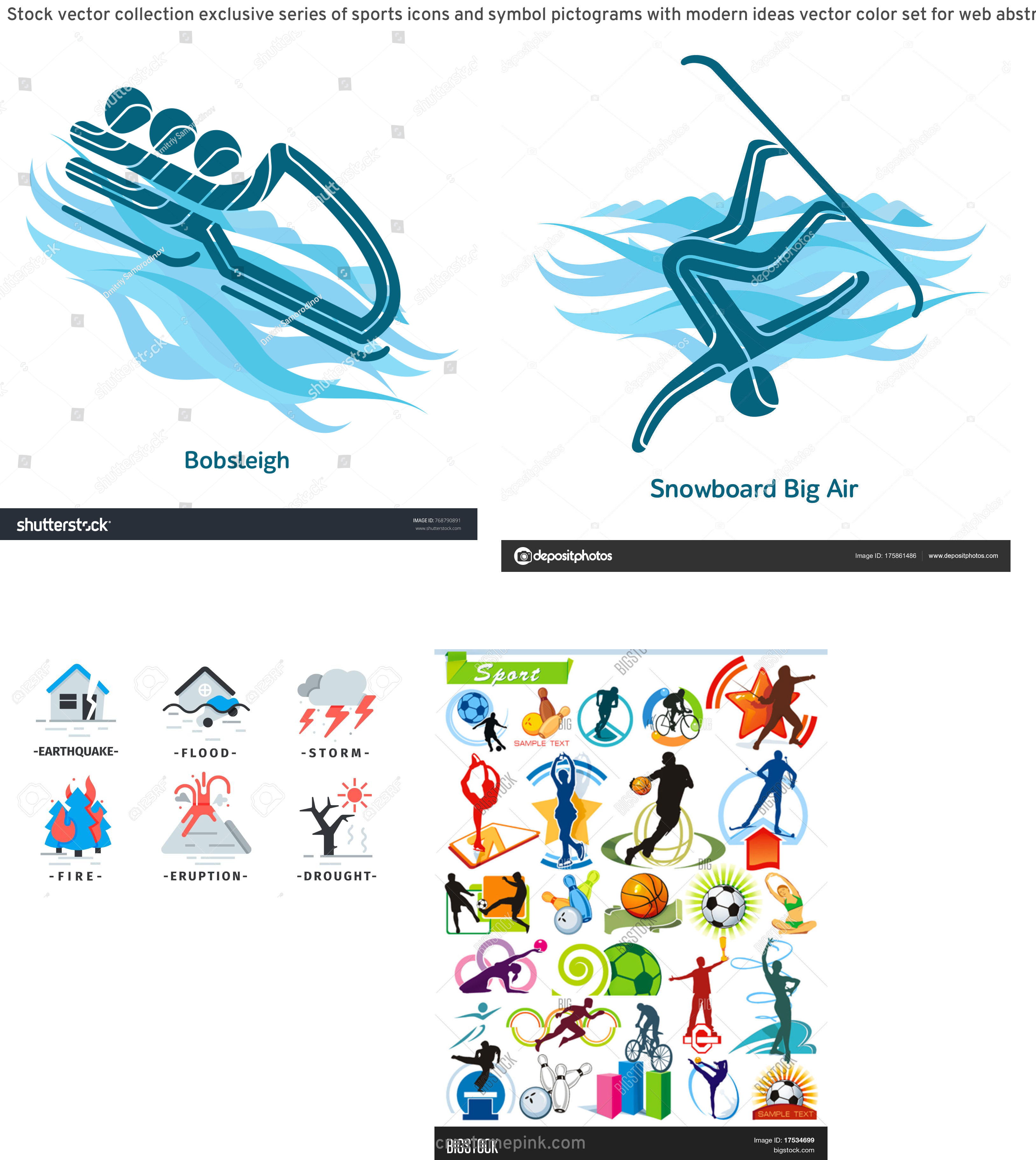 Vector Pictograms Events: Stock Vector Collection Exclusive Series Of Sports Icons And Symbol Pictograms With Modern Ideas Vector Color Set For Web Abstract Creative Element Corporate Templates Just Place Your Own Company Name