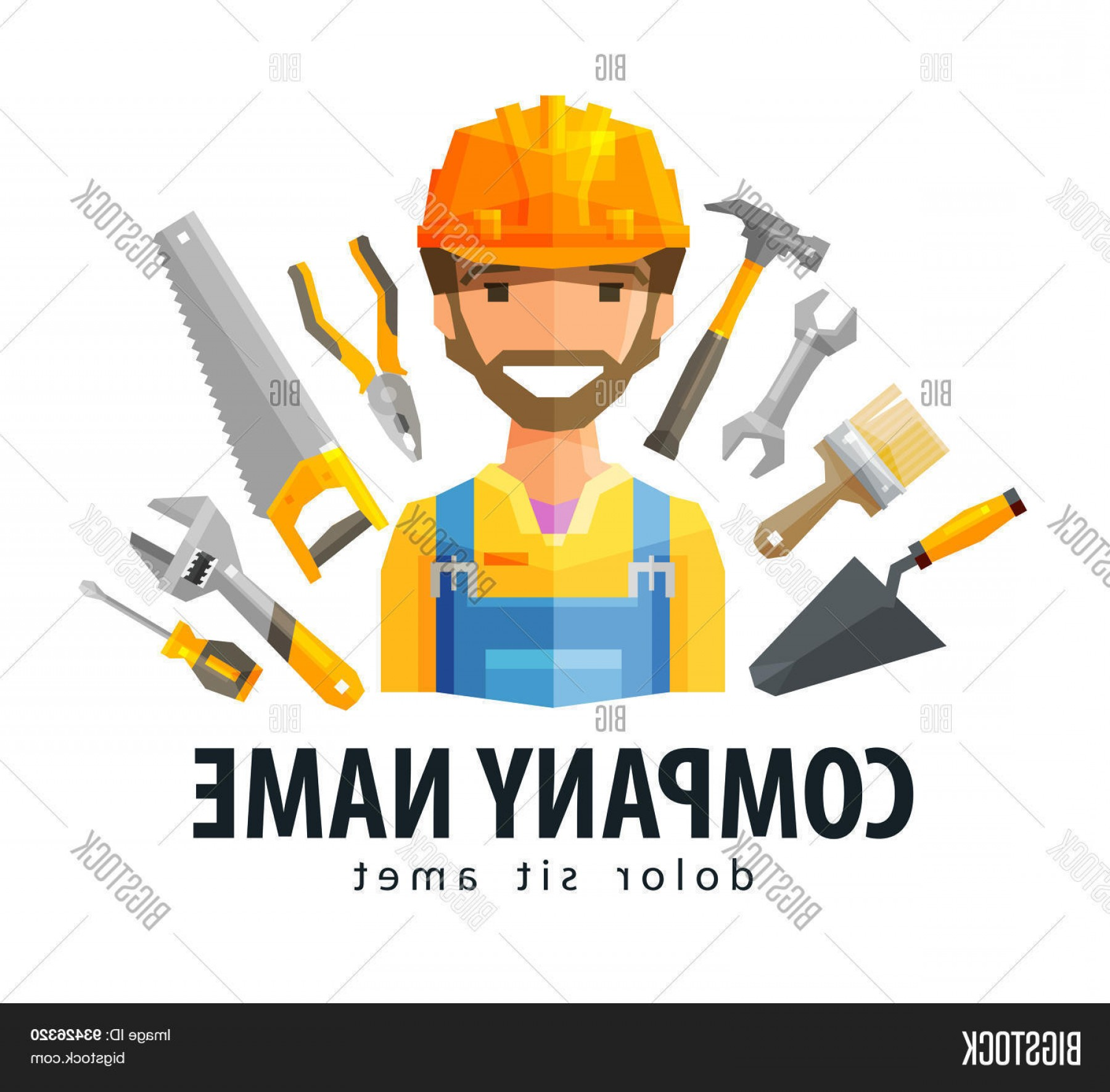 Worker Vector: Stock Vector Construction Worker Vector Logo Design Template Builderc Constructor Or Tools Icon
