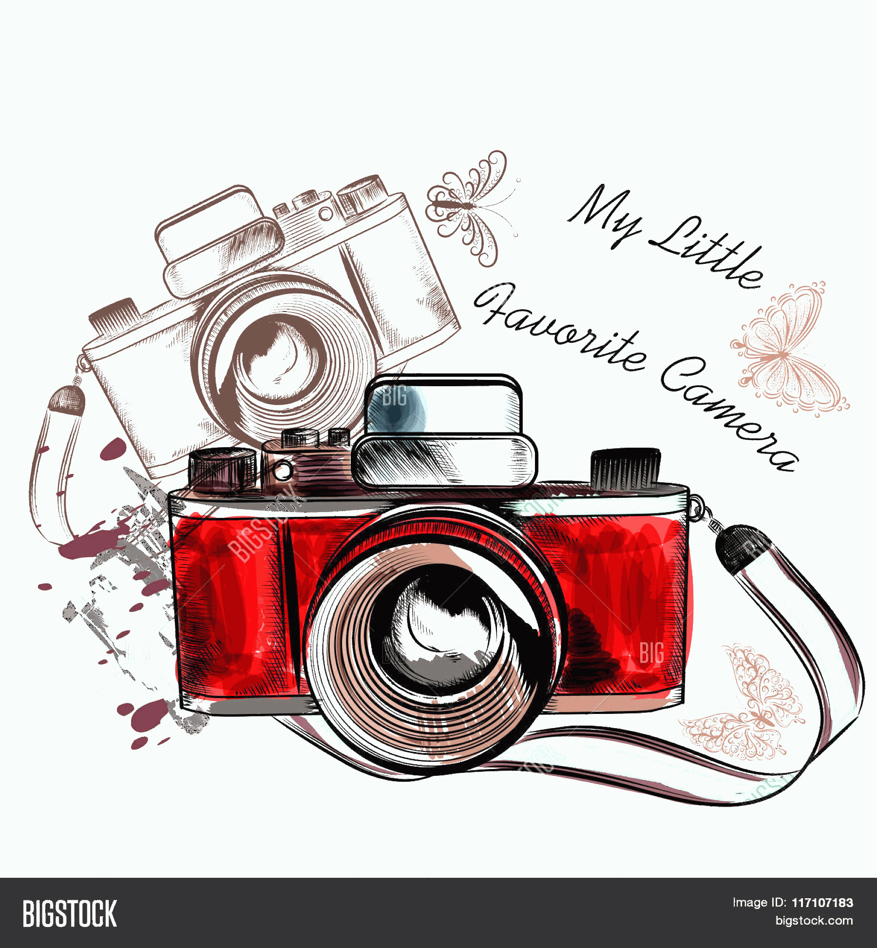 Classic Camera Vector: Stock Vector Cute Hand Drawn Vintage Camera Vector Illustration