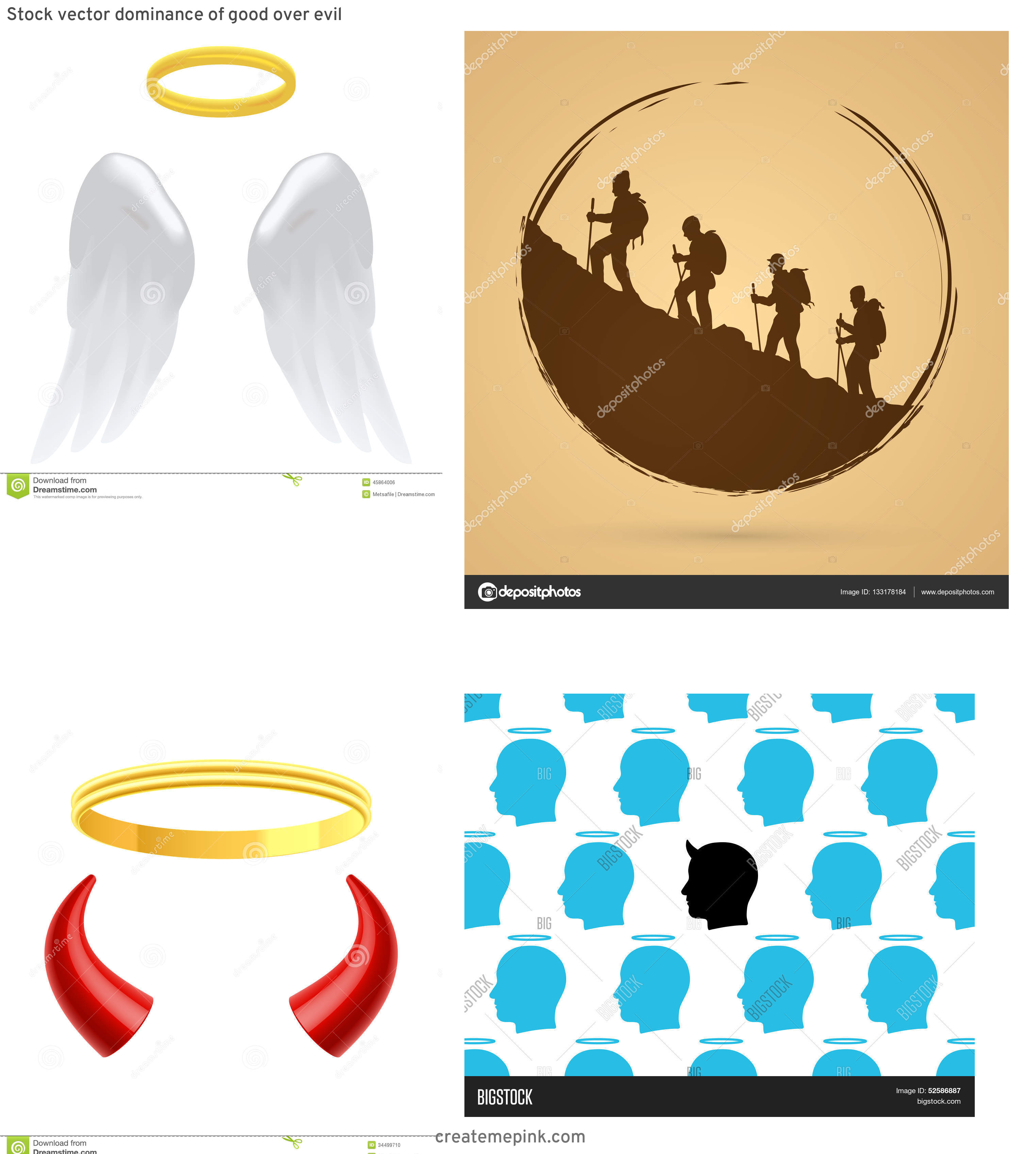 Halos Vector Silhouettes: Stock Vector Dominance Of Good Over Evil