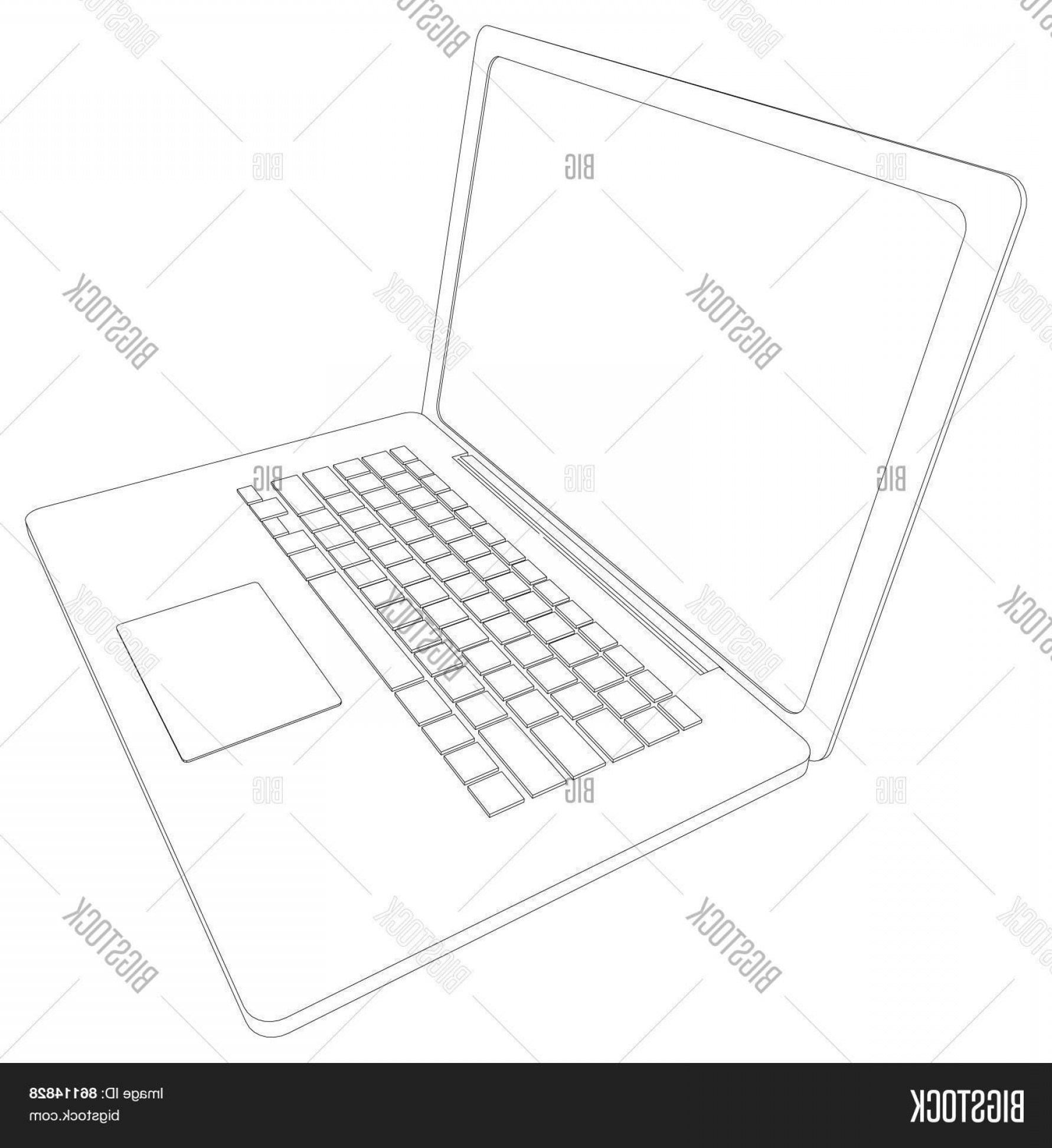 Laptop Vector Frame: Stock Vector Drawing Of Wire Frame Open Laptop Perspective View Vector Illustration