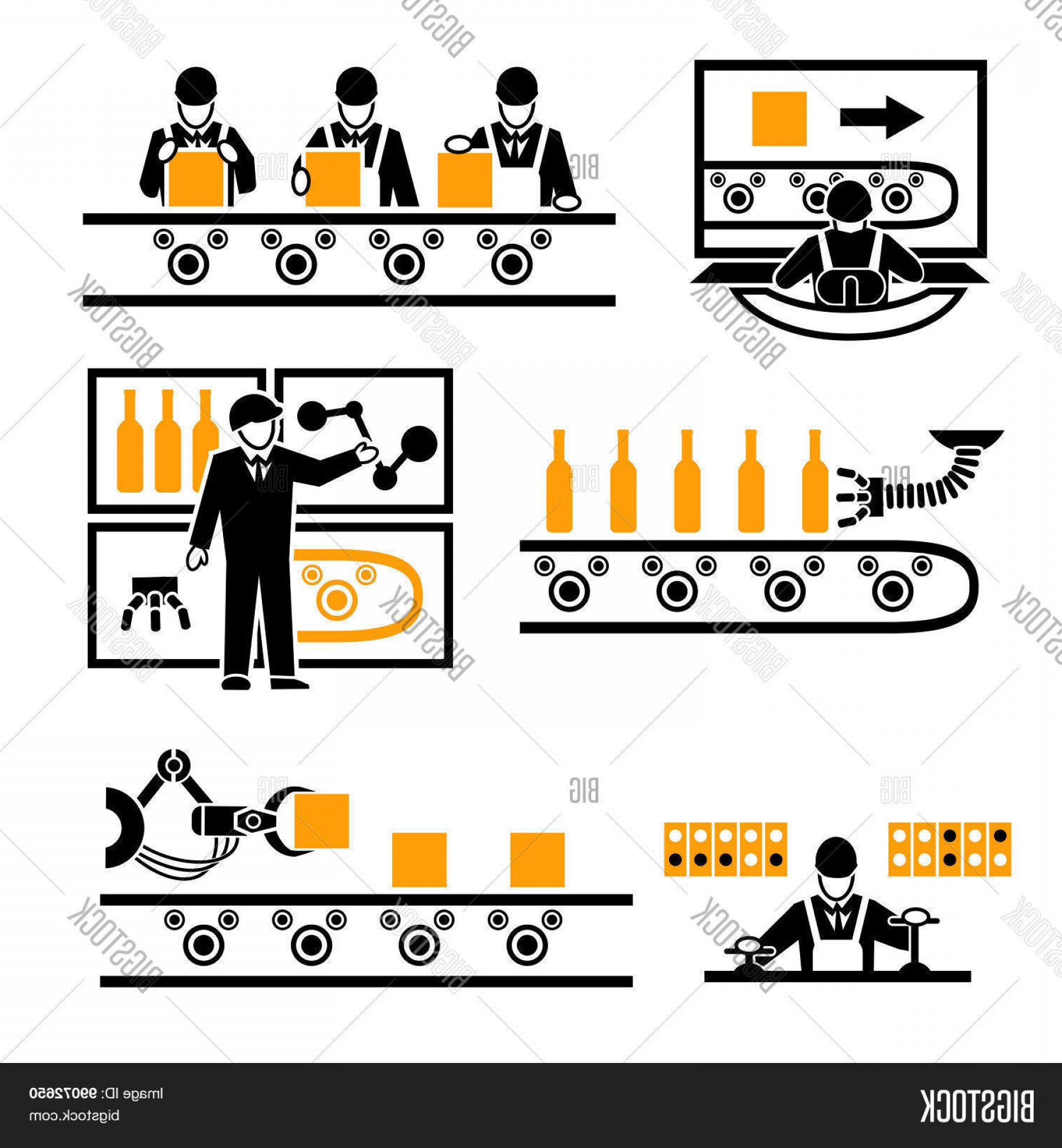 Vector Manufacturing Machine: Stock Vector Factory Production Process Icons