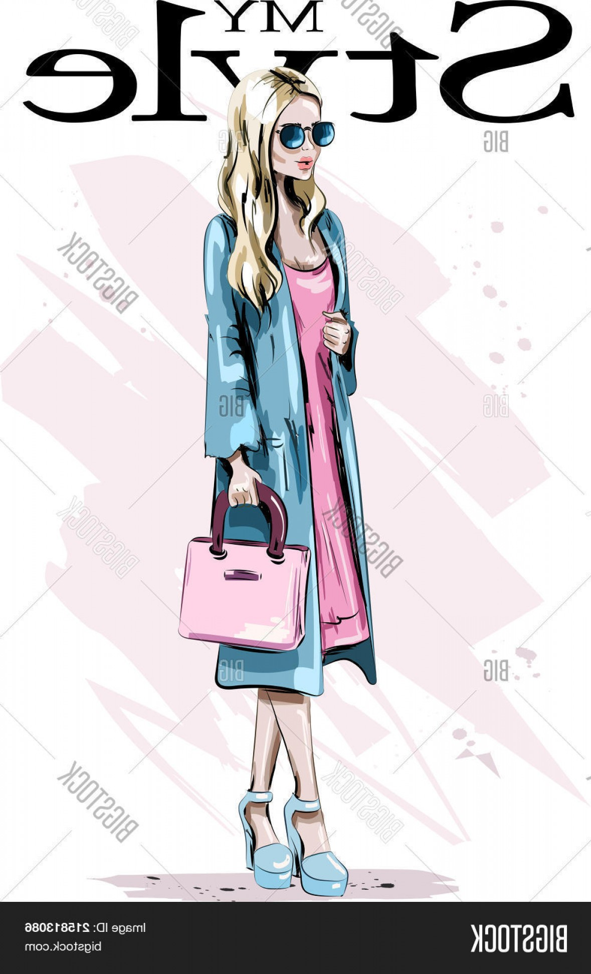 Vector Model Poses: Stock Vector Fashion Model Posing Beautiful Blond Hair Woman With Bag Stylish Woman In Coat Sketch Vector Illustration