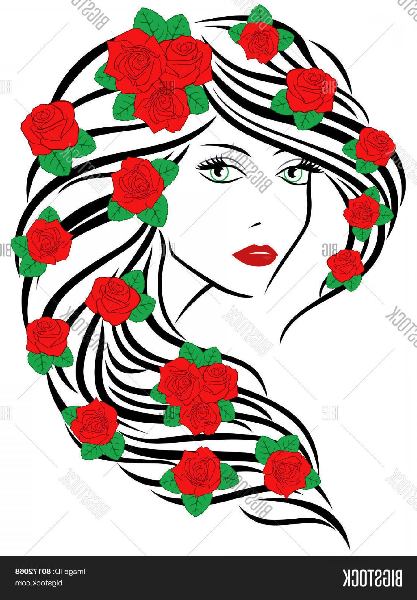 Women With Roses Vector: Stock Vector Fashionable Women With Roses On Hair
