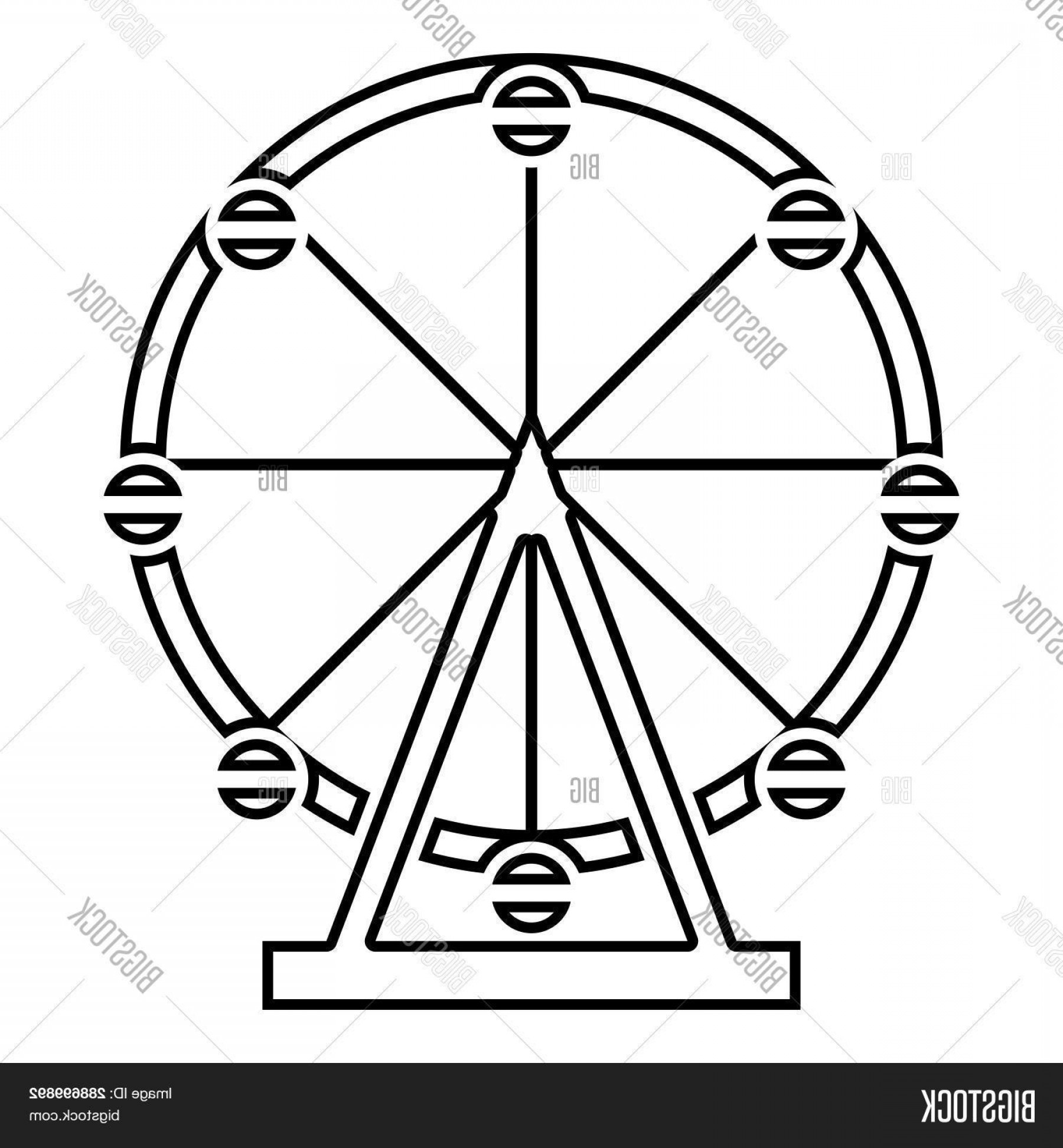 Attraction Icon Vector: Stock Vector Ferris Wheel Amusement In Park On Attraction Icon Black Color Outline Vector Illustration Flat Style