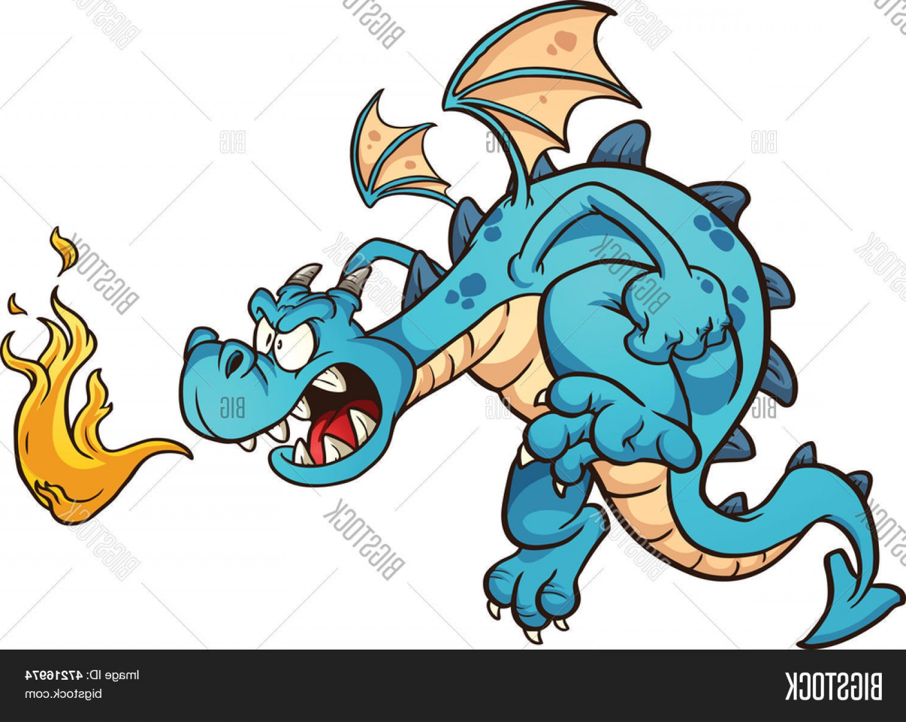 Dragon Fire Vector: Stock Vector Fire Breathing Cartoon Blue Dragon Vector Clip Art Illustration With Simple Gradients All In A Single Layer