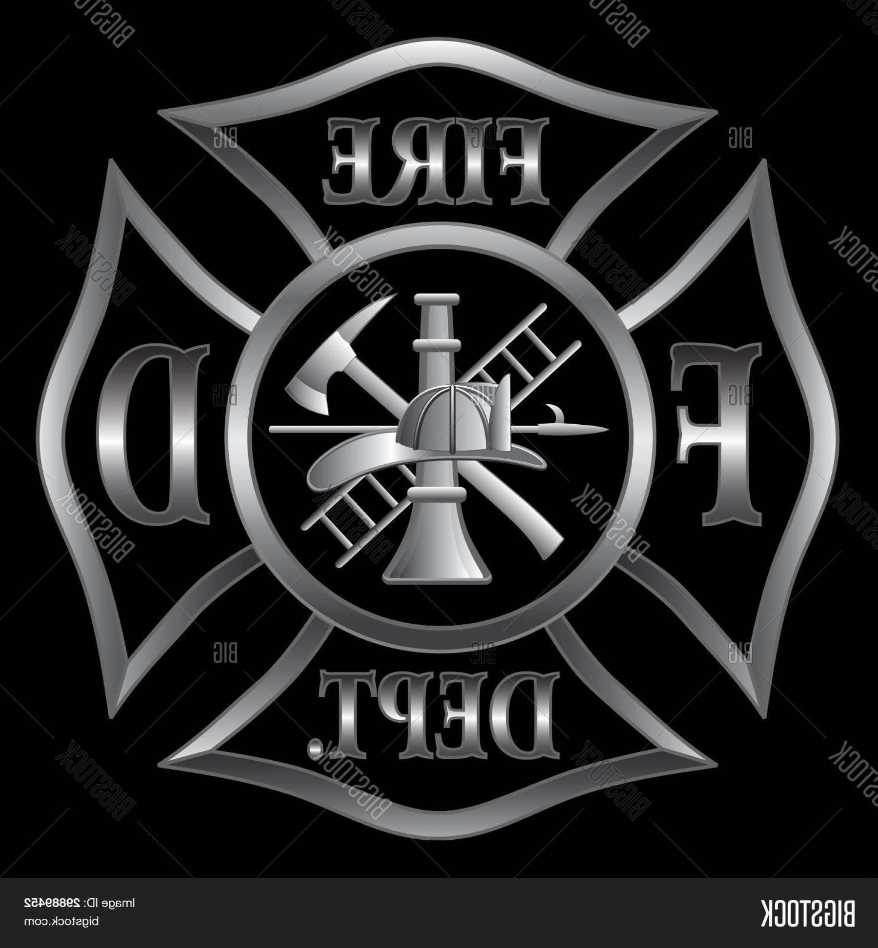 Fire Maltese Vector: Stock Vector Fire Department Maltese Cross Silver
