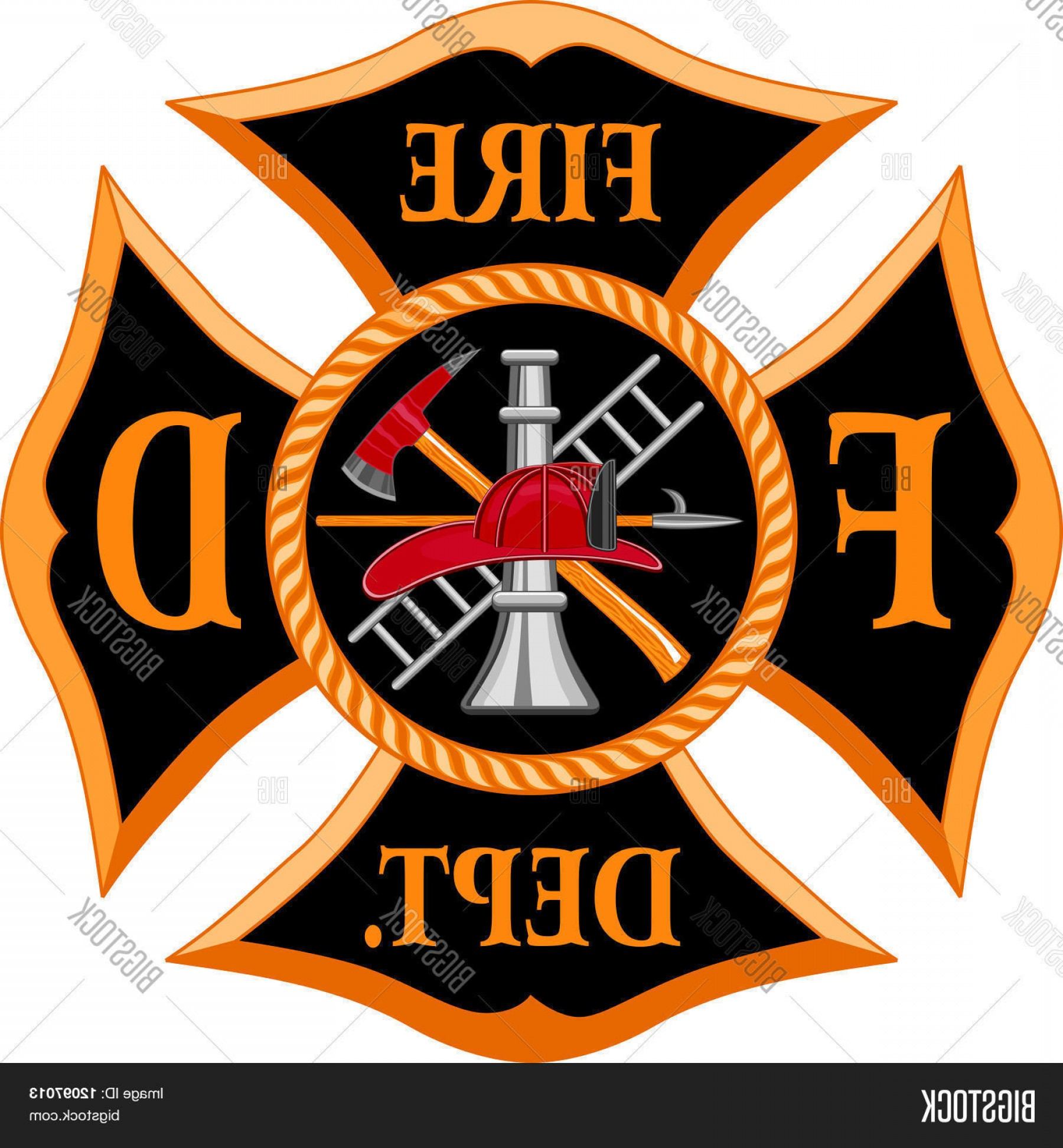 Fire Maltese Vector: Stock Vector Fire Department Maltese Cross Symbol