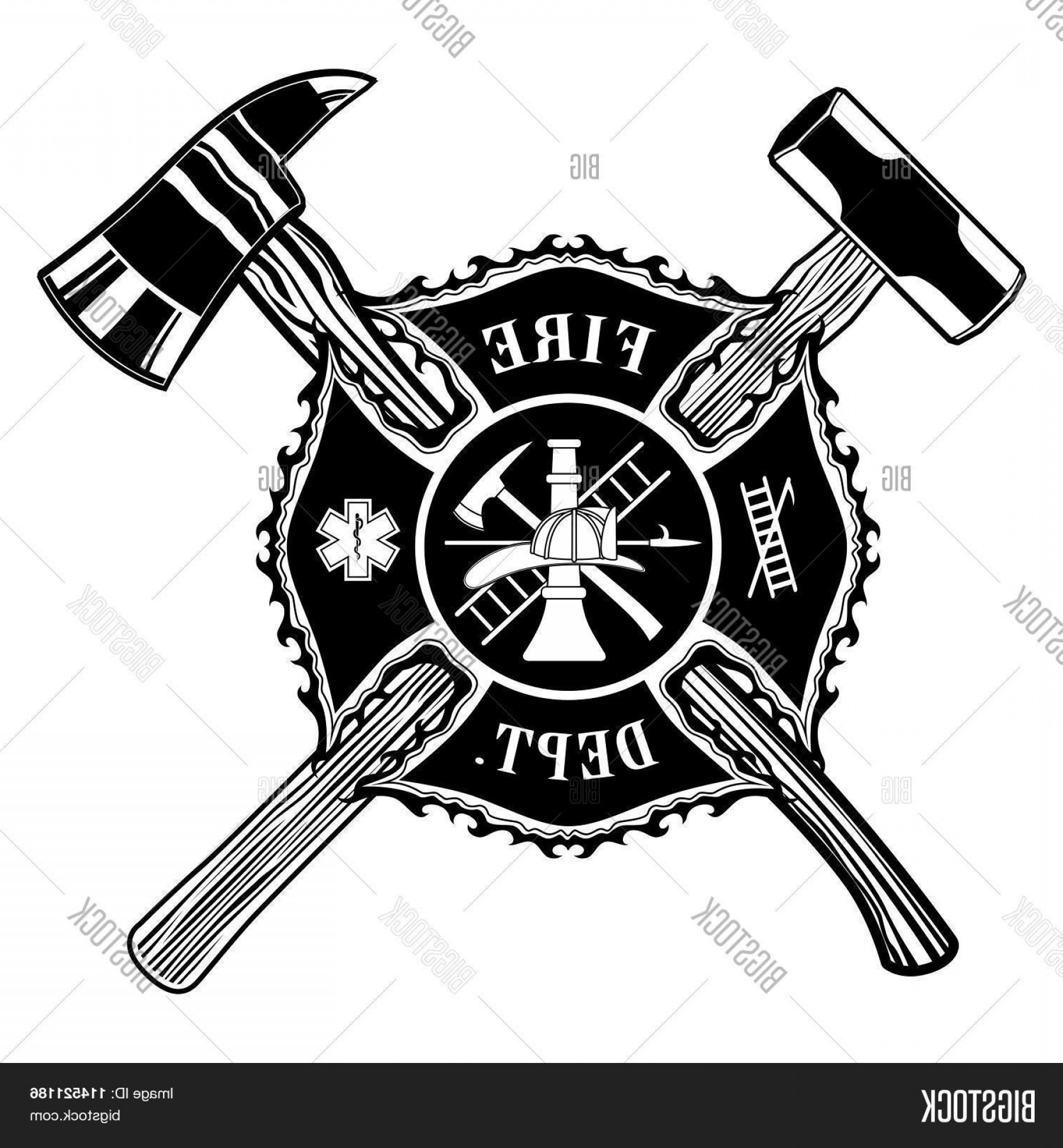 Fire Maltese Vector: Stock Vector Firefighter Cross Axe And Sledge Hammer