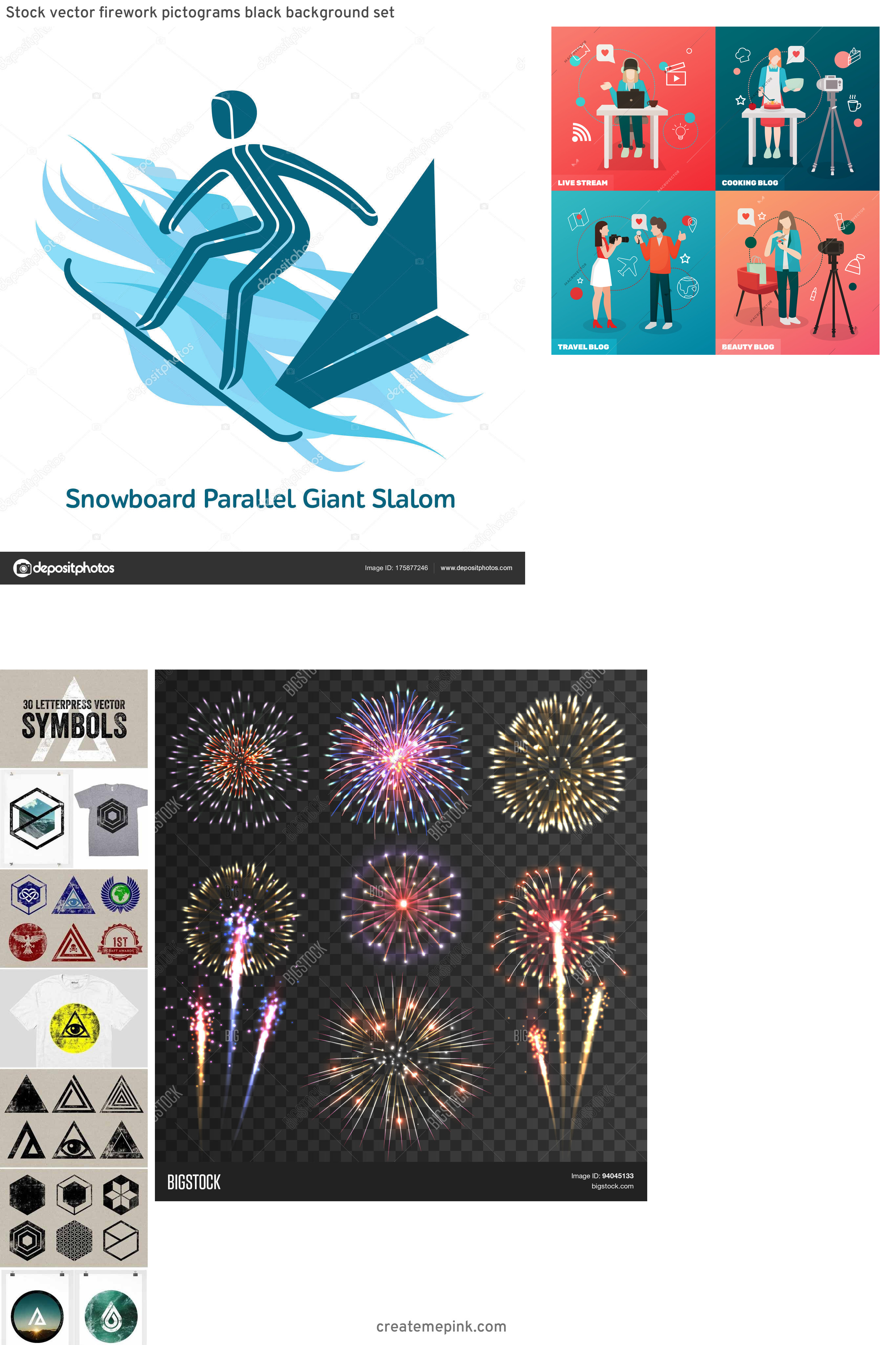 Vector Pictograms Events: Stock Vector Firework Pictograms Black Background Set