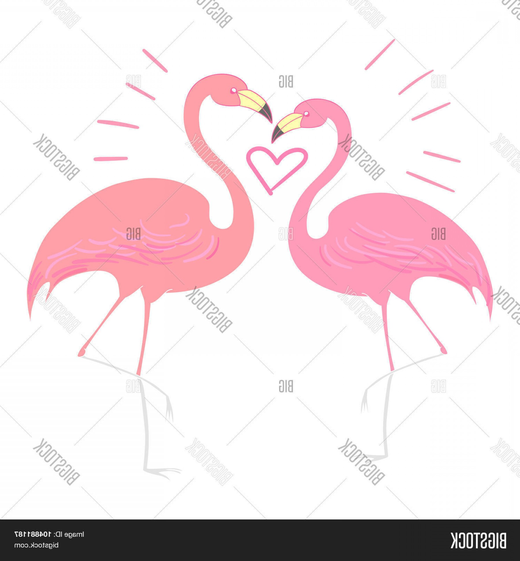 Hunting Heart Vector: Stock Vector Flamingo Bird With Heart Vector Illustration