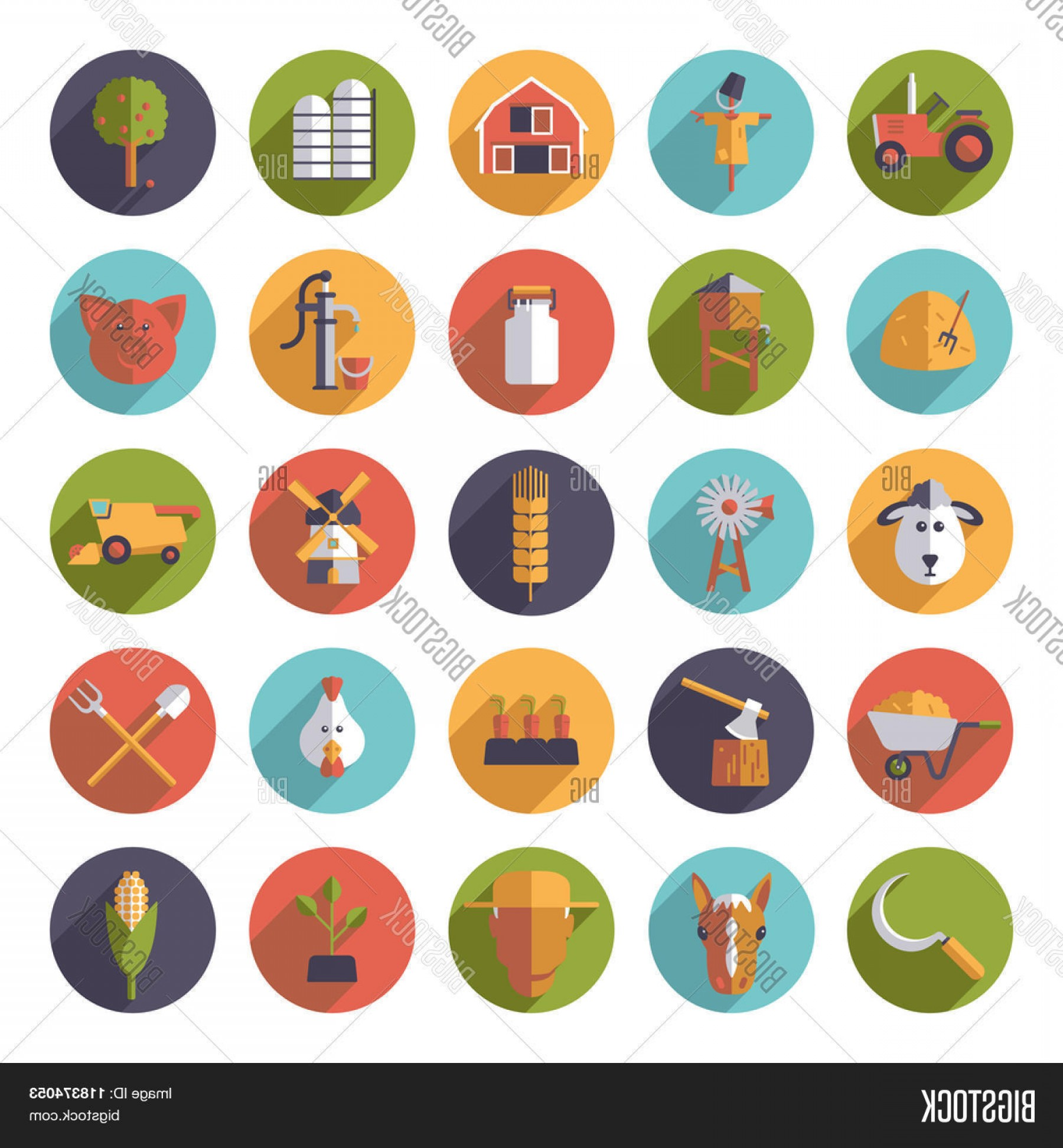 Agriculture Vector Icons: Stock Vector Flat Design Agriculture And Farming Round Icon Set Collection Of Farm And Agriculture Vector Icons In Circles
