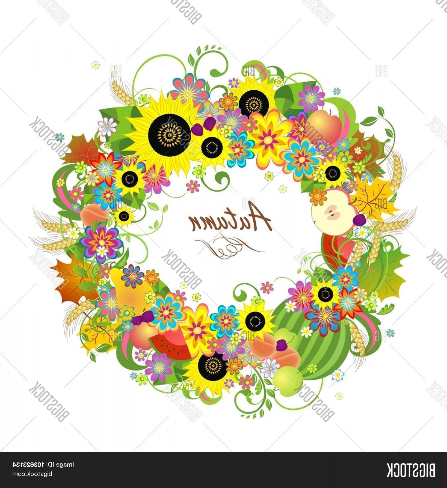 Wheat Flourishes Vector: Stock Vector Floral Wreath With Fruitsc Wheat And Sunflowers
