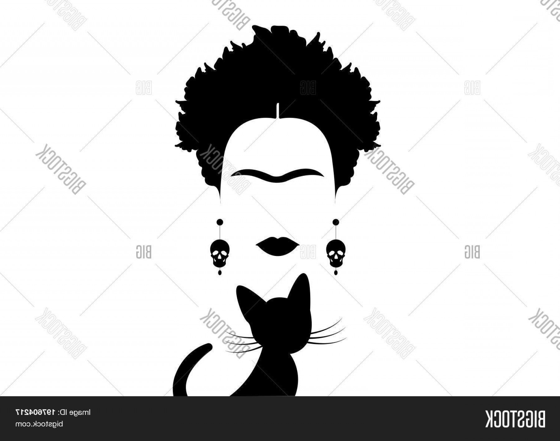 Frida Black And White Vector: Stock Vector Frida Kahlo And Black Cat C Portrait Of Mexican Woman Minimalist Silhouette With Skulls C Vector Isolated