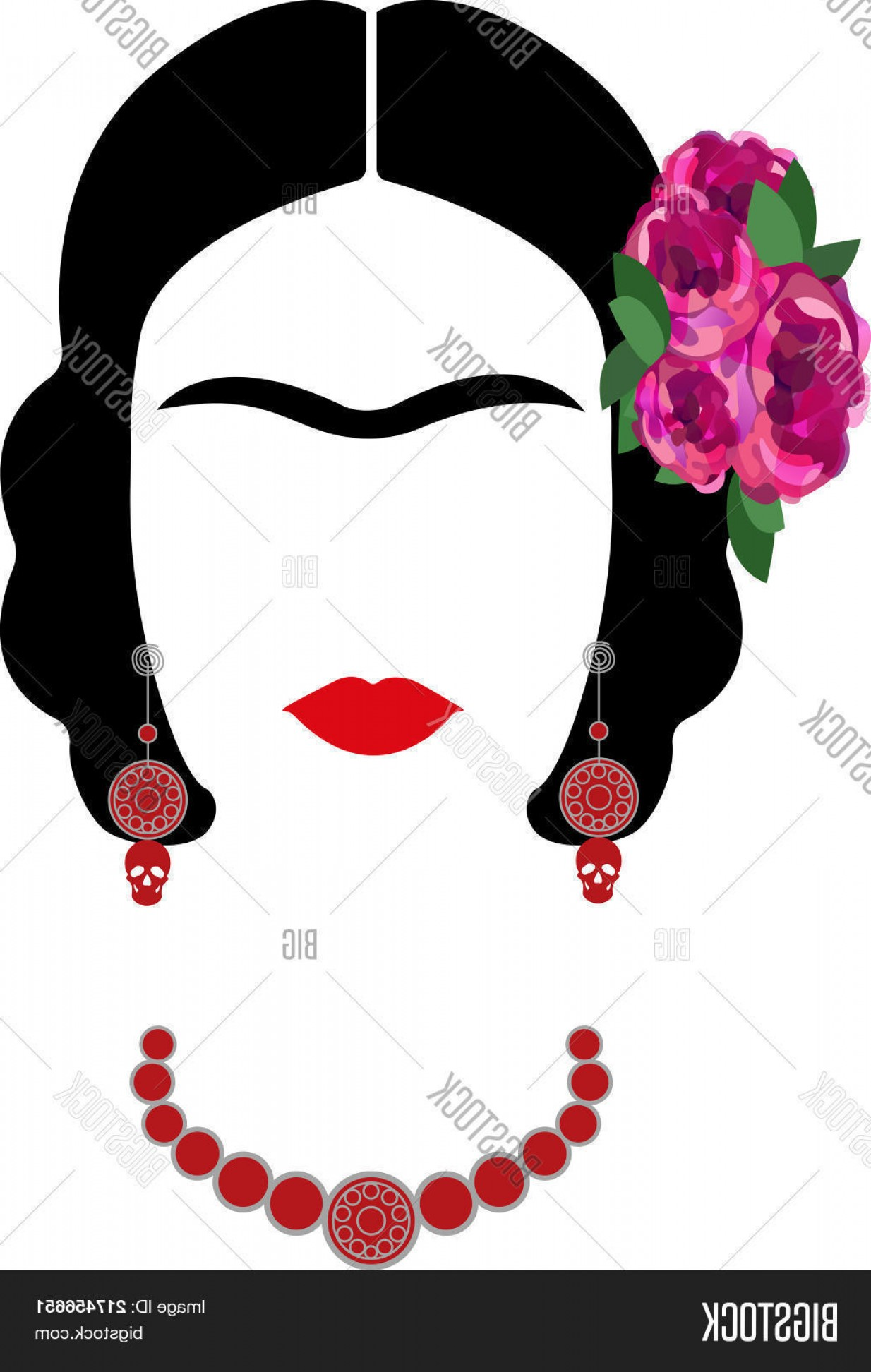Frida Black And White Vector: Stock Vector Frida Kahlo Vector Portraitc Graphic Interpretation With Mexican Ethnic Jewelry C Isolated Or White Background