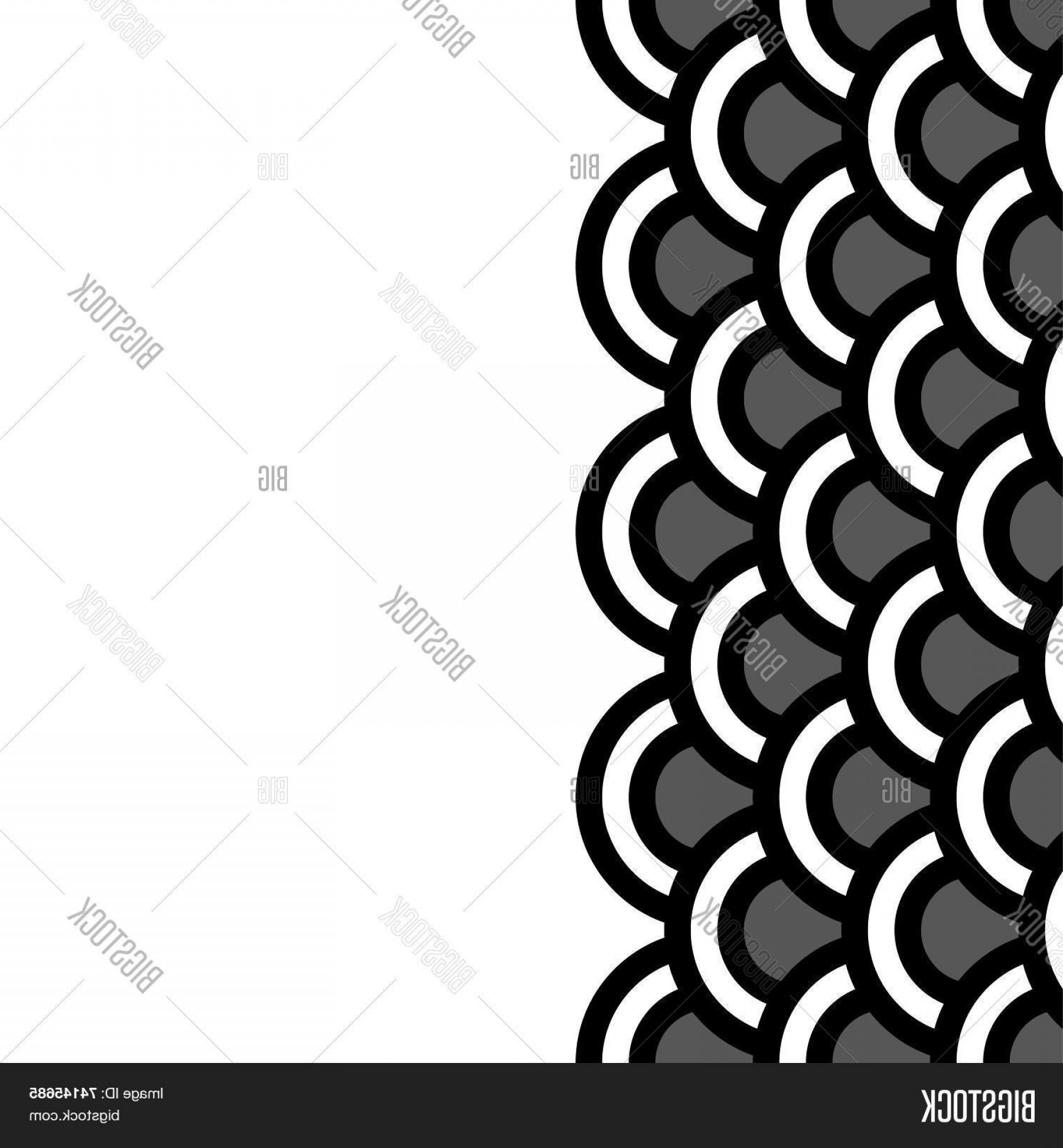Black Scalloped Border Vector: Stock Vector Geometric Scallop Seamless Border Pattern In Black And Whitec Vector
