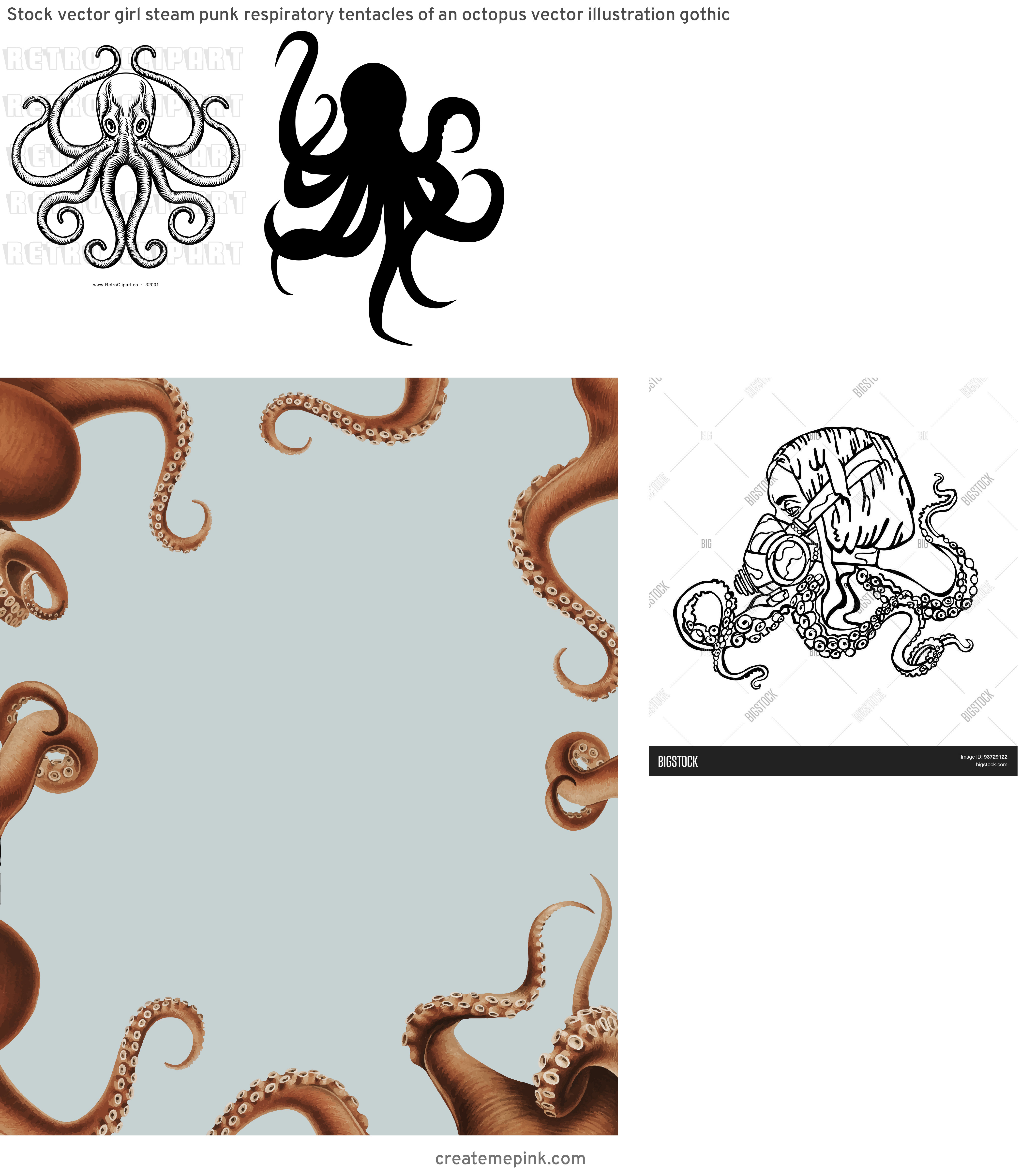 Vector Octopus Tentacles: Stock Vector Girl Steam Punk Respiratory Tentacles Of An Octopus Vector Illustration Gothic