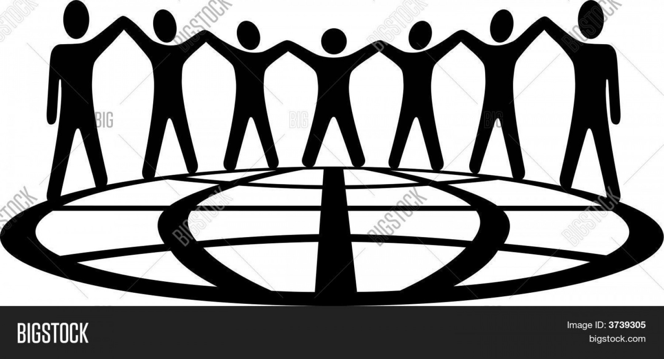 Holding Hands Up Silhouette Vector: Stock Vector Global People Hold Hands And Arms Up On Globe