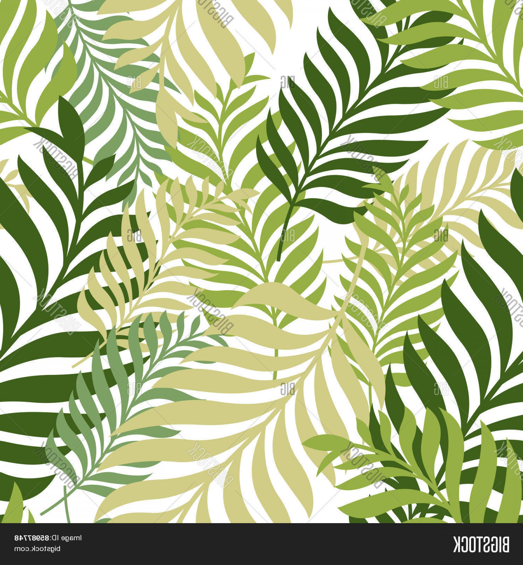 Leaf Background Vector: Stock Vector Green Palm Tree Leaves Vector Seamless Pattern Nature Organic Background