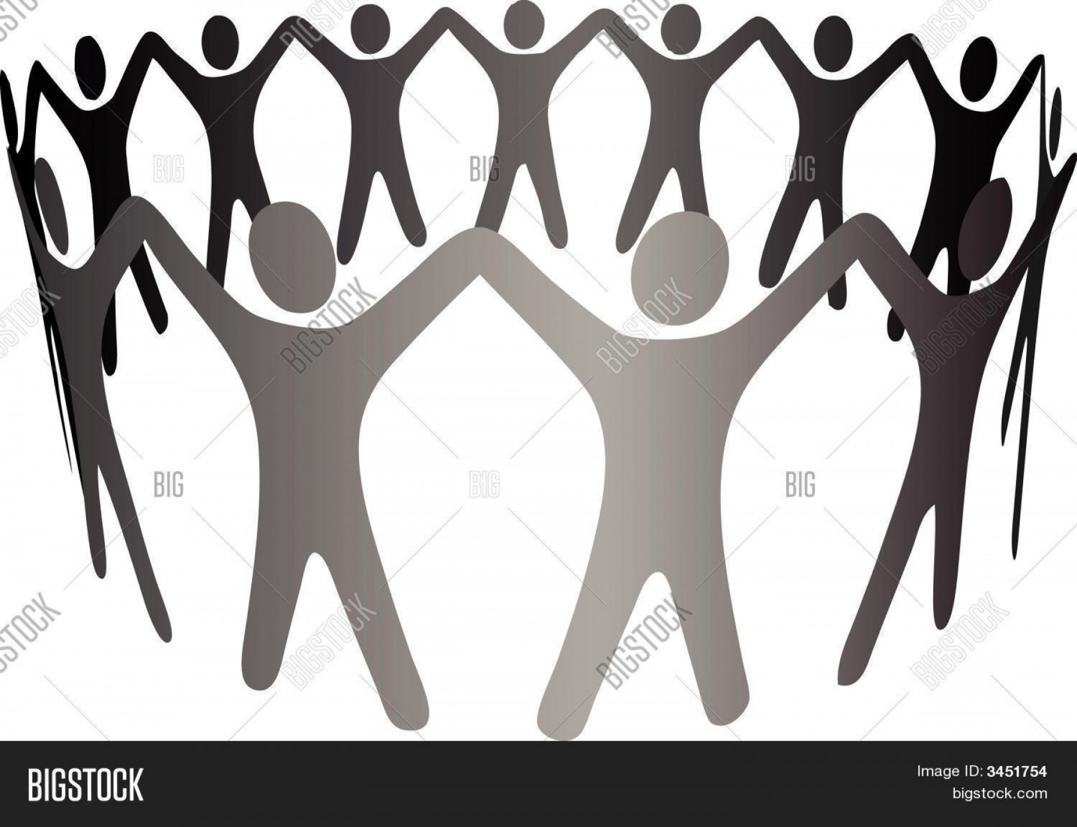 Holding Hands Up Silhouette Vector: Stock Vector Group Symbol People Hold Hands Arms Up In Circle Ring Chain Eps