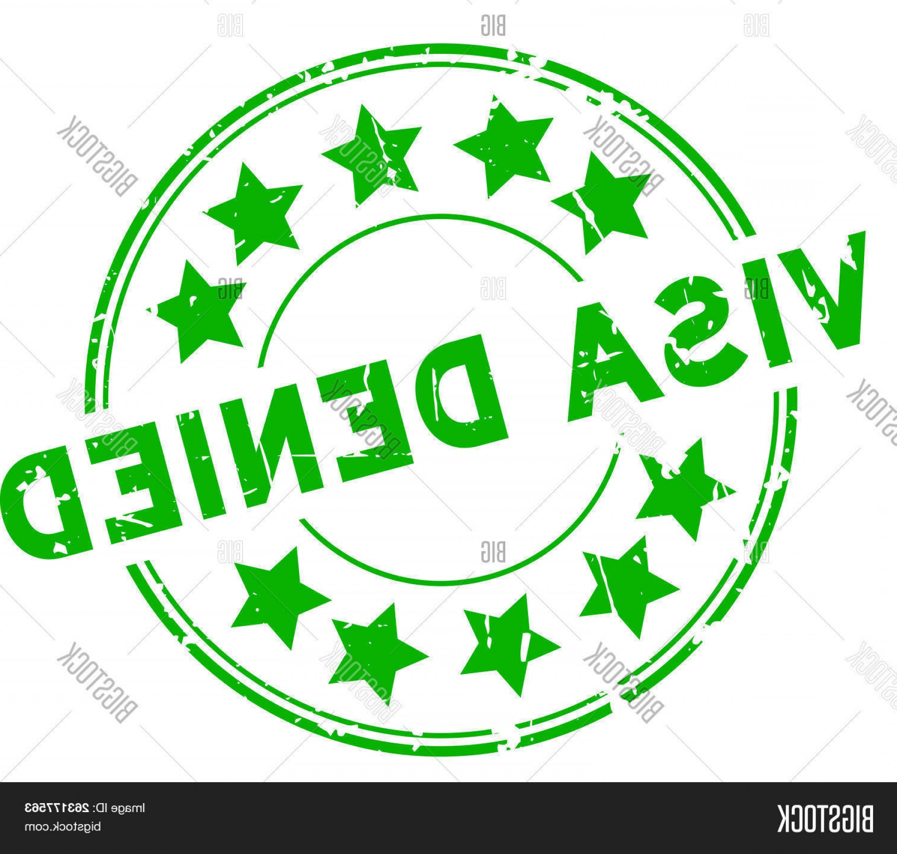 Visa Logo Vector Clip Art: Stock Vector Grunge Green Visa Denied With Star Icon Round Rubber Seal Stamp On White Background