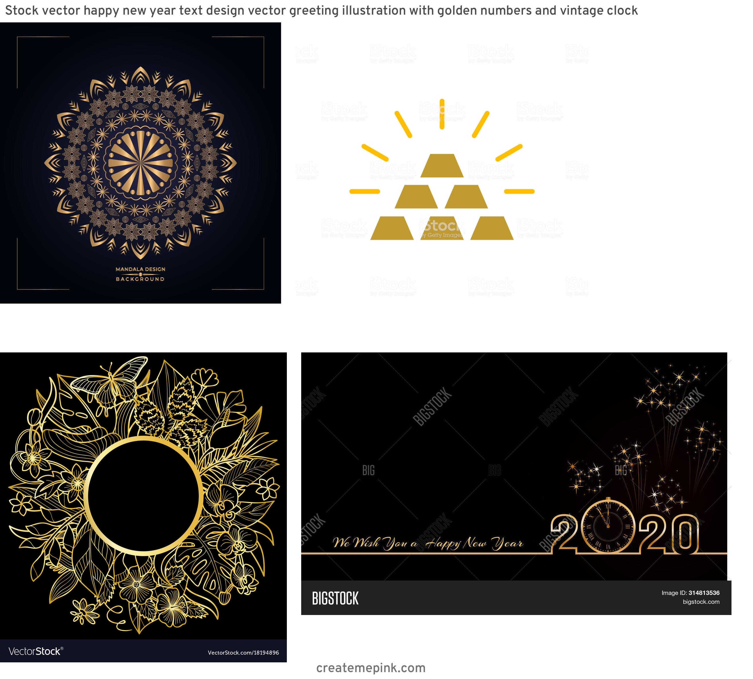 Gold Graphic Design Vectors: Stock Vector Happy New Year Text Design Vector Greeting Illustration With Golden Numbers And Vintage Clock