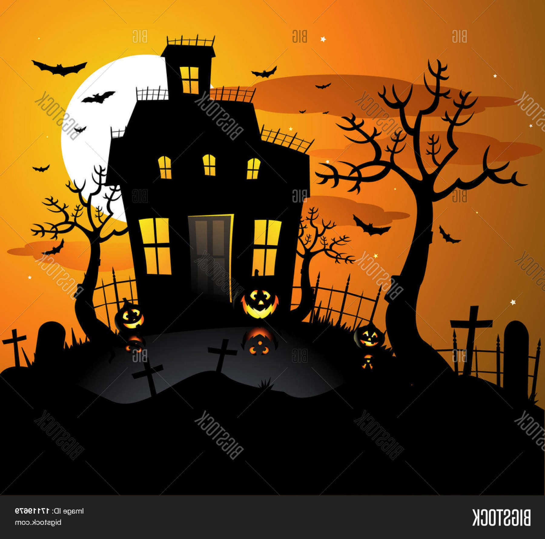 Halloween Haunted House Silhouette Vector: Stock Vector Haunted House Halloween Background