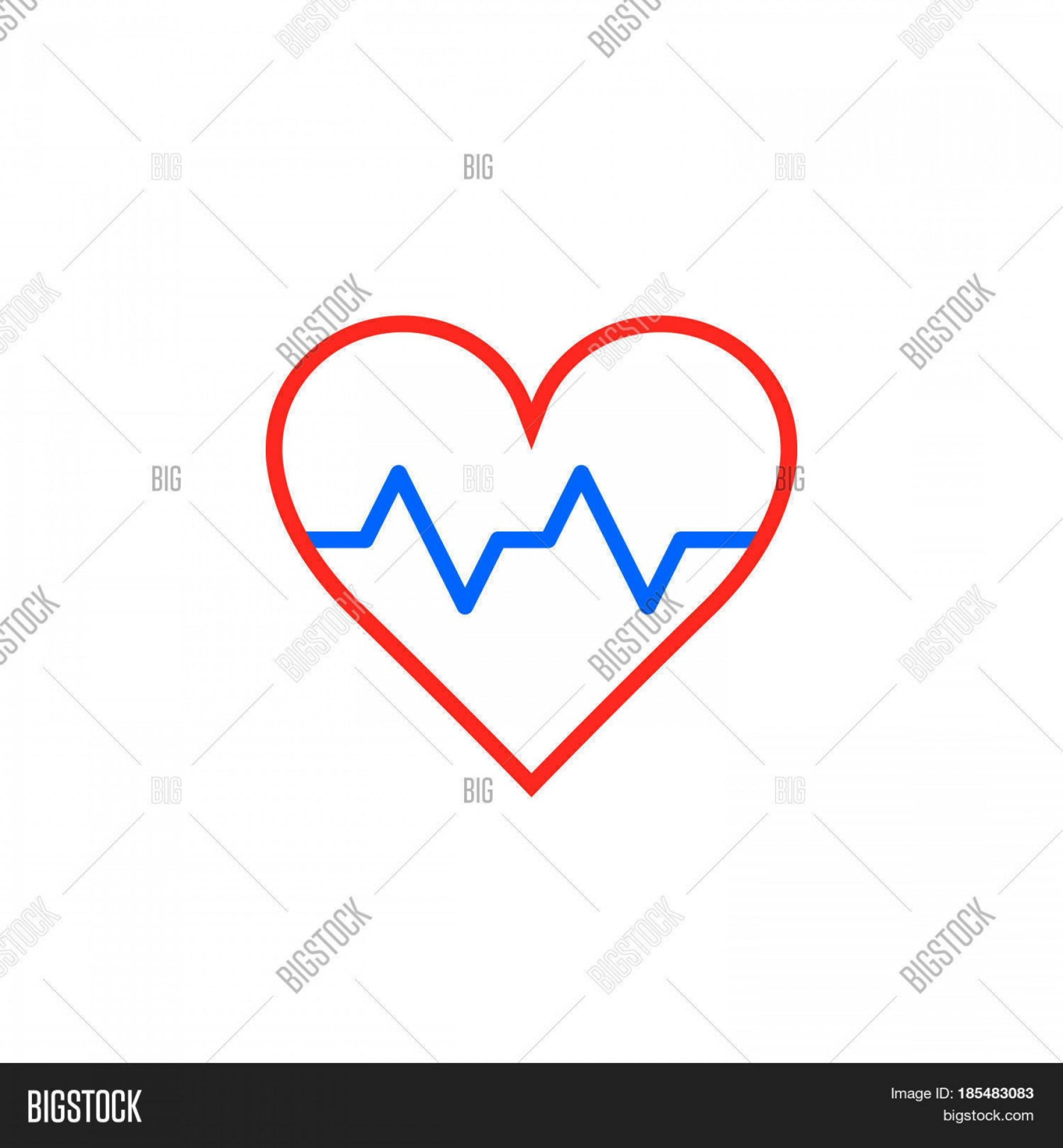 Stock Vector Logo: Stock Vector Heartbeat Symbol Heart Beat Pulse Line Icon Outline Vector Logo Illustration Linear Pictogram Isolated On White