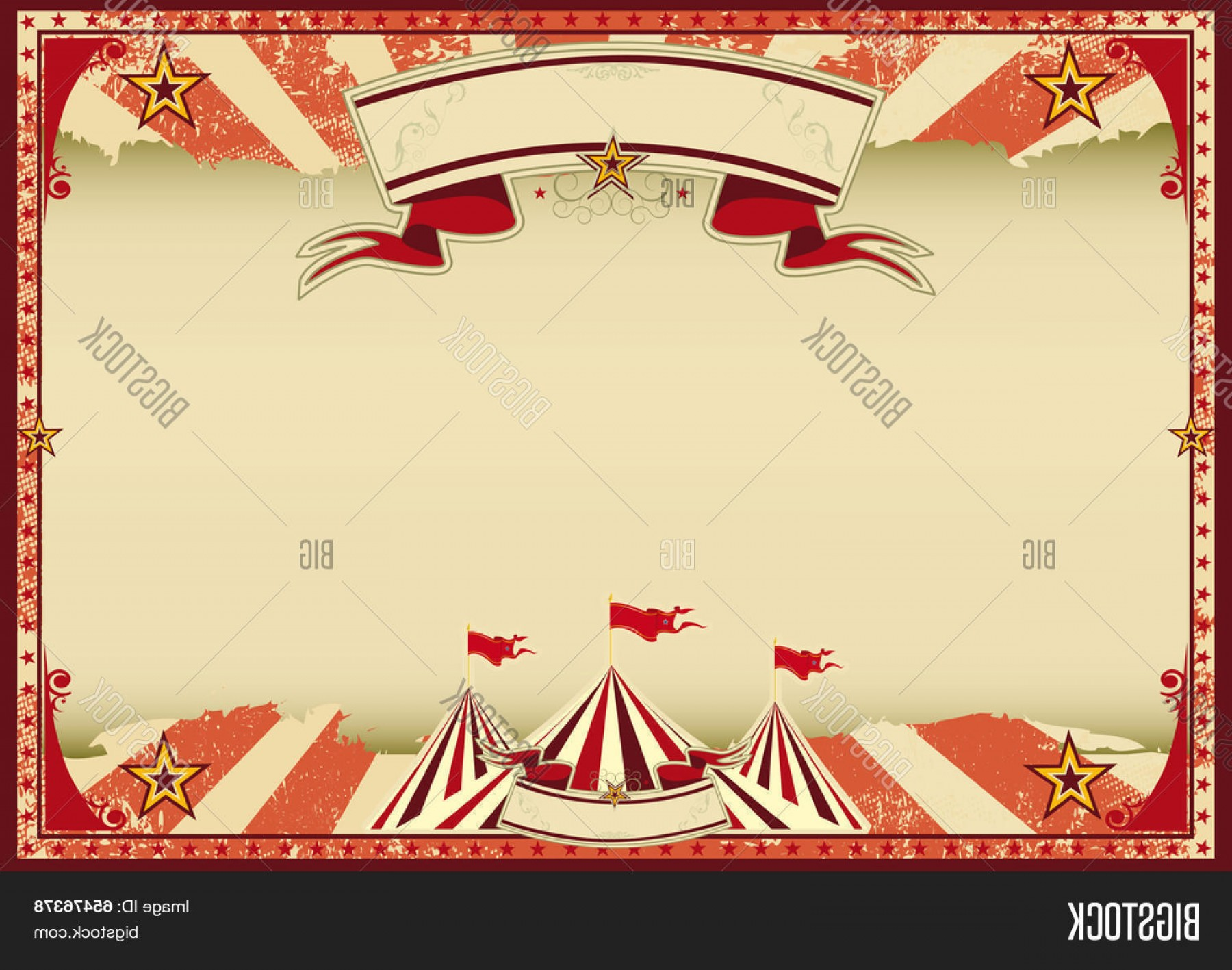 Circus Background Vector Stock Horizontal Red Retro A Vintage For