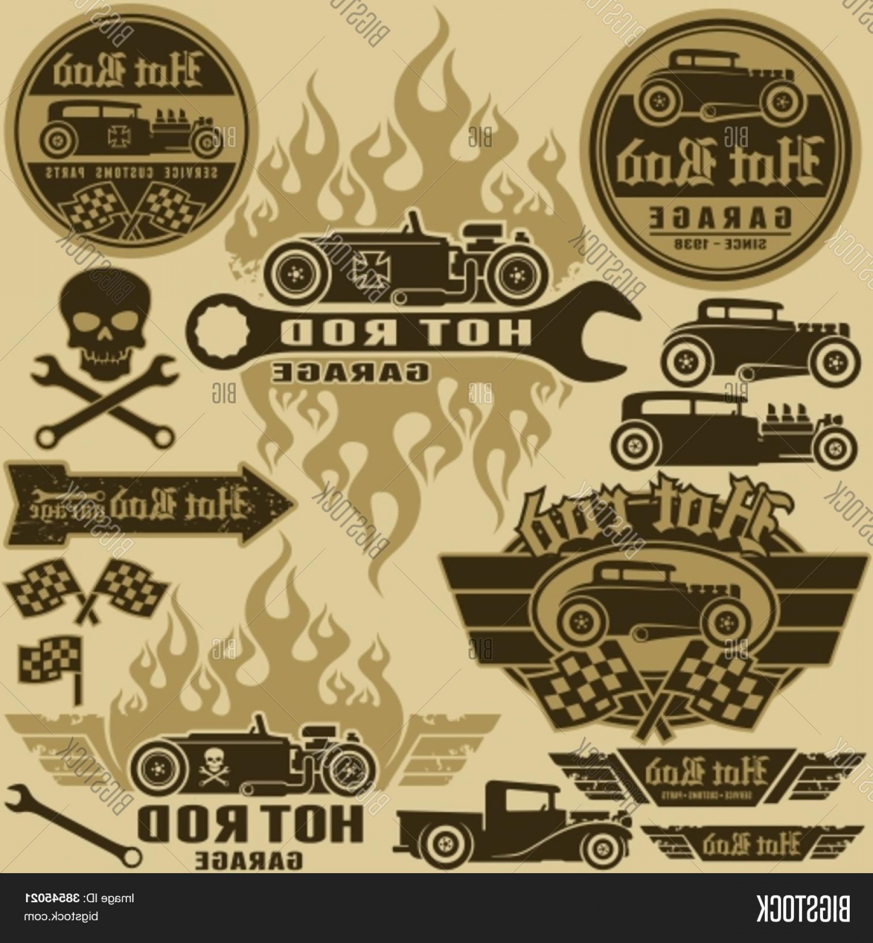 Classic Street Rod Vector Art: Stock Vector Hot Rod Style Labels And Signs Set Vector Design Elements