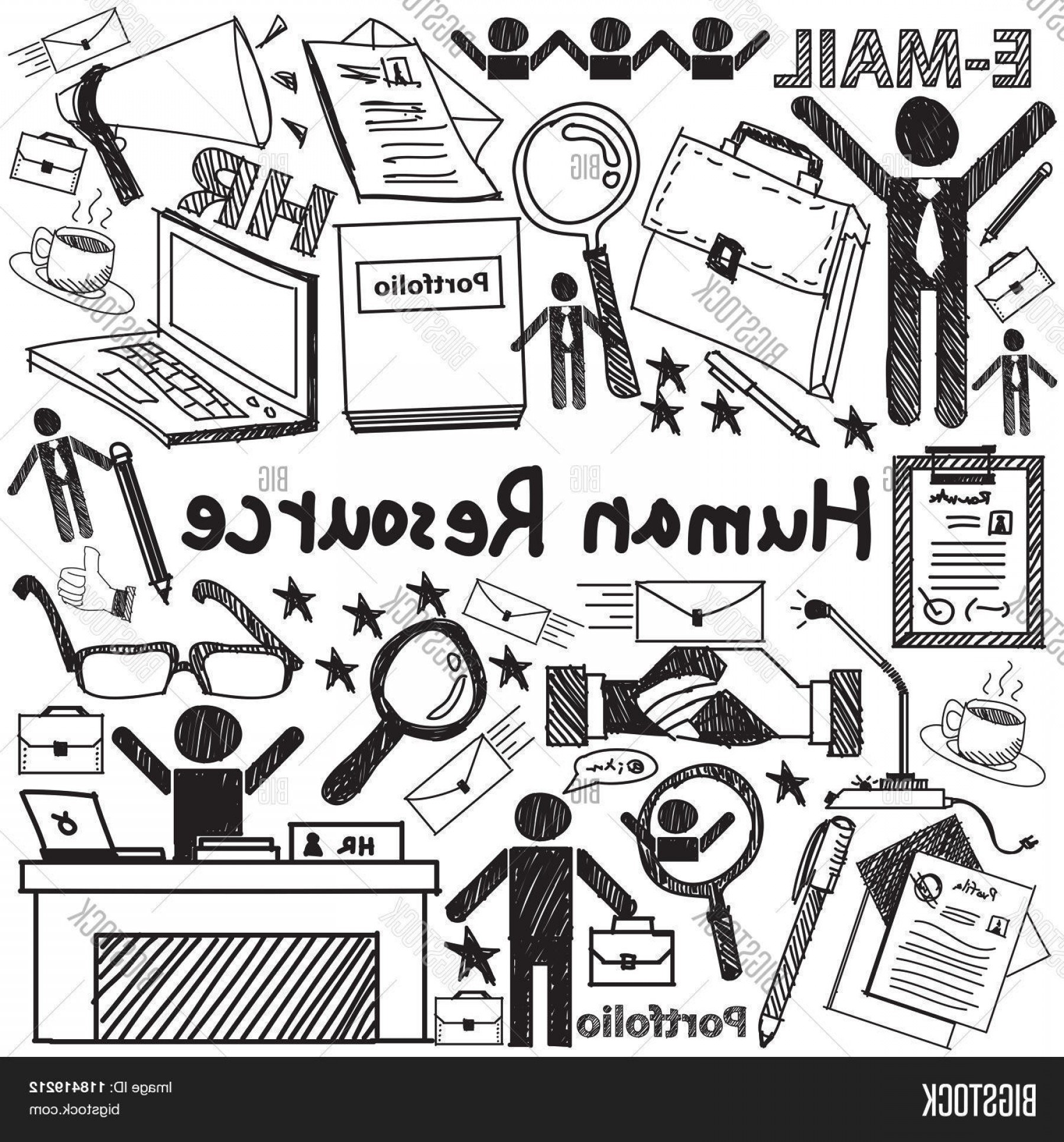 Vector Black And White Organization: Stock Vector Human Resource Management In Organization Handwriting Doodle Icon Sketch Sign And Symbol In White Is