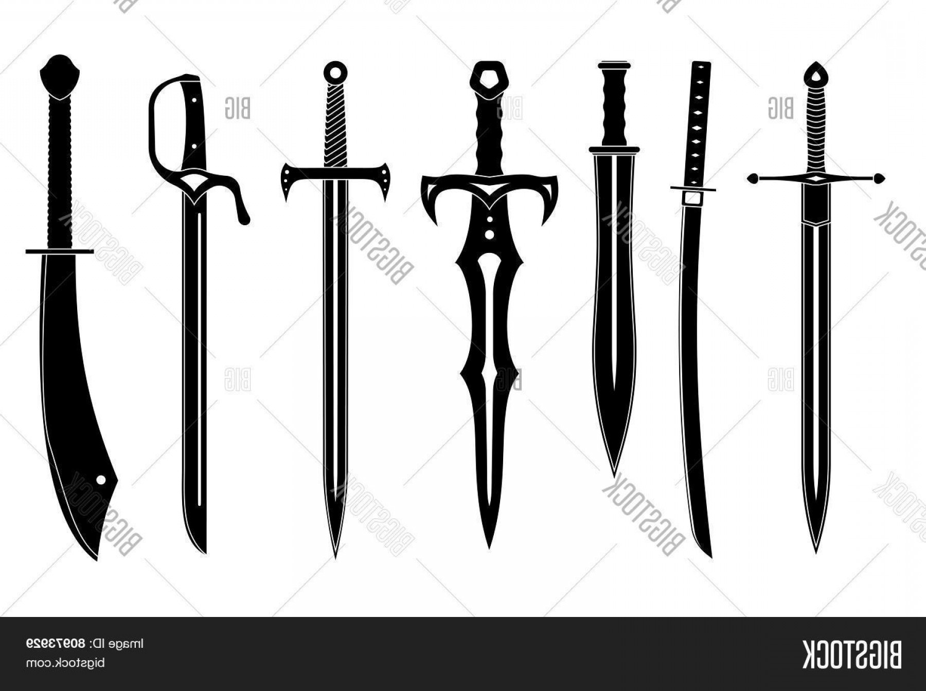 Game Of Thrones Sword Silhouette Vector: Stock Vector Icon Set Of Ancient Swords