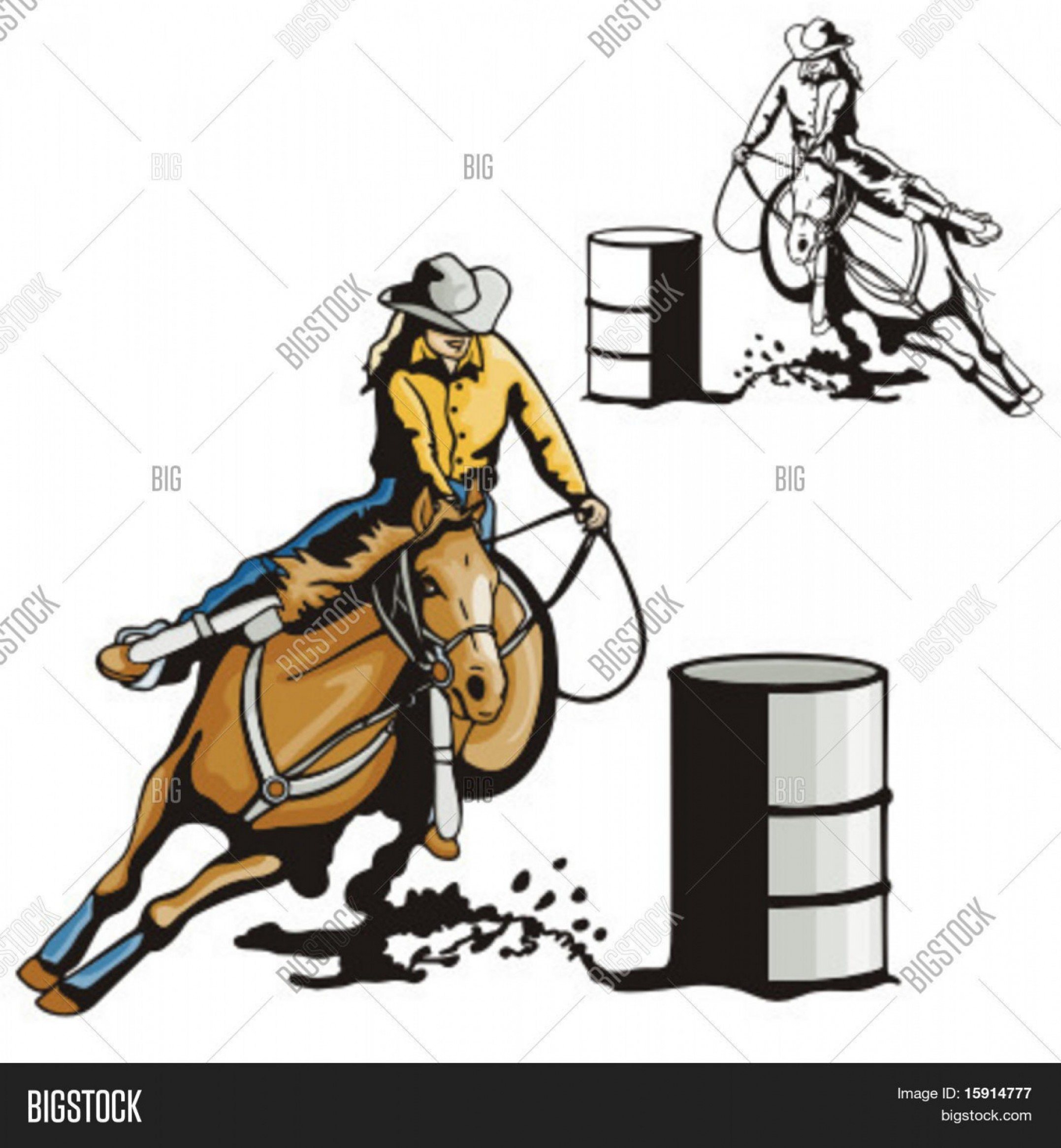 Barrel Racer Vector: Stock Vector Illustration Of A Ladies Barrel Racing