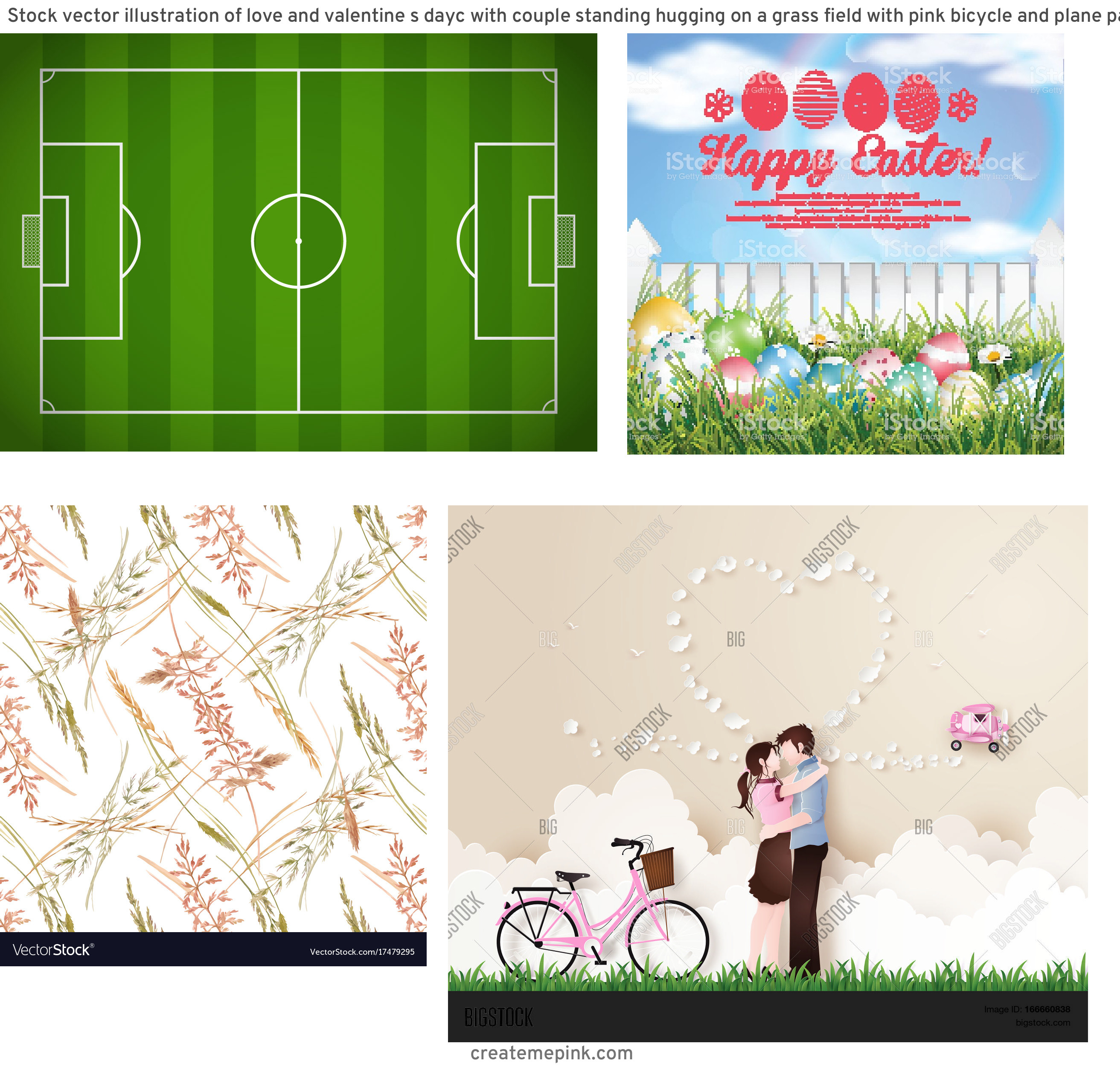 Vector Art Grass Field: Stock Vector Illustration Of Love And Valentine S Dayc With Couple Standing Hugging On A Grass Field With Pink Bicycle And Plane Paper Art Style