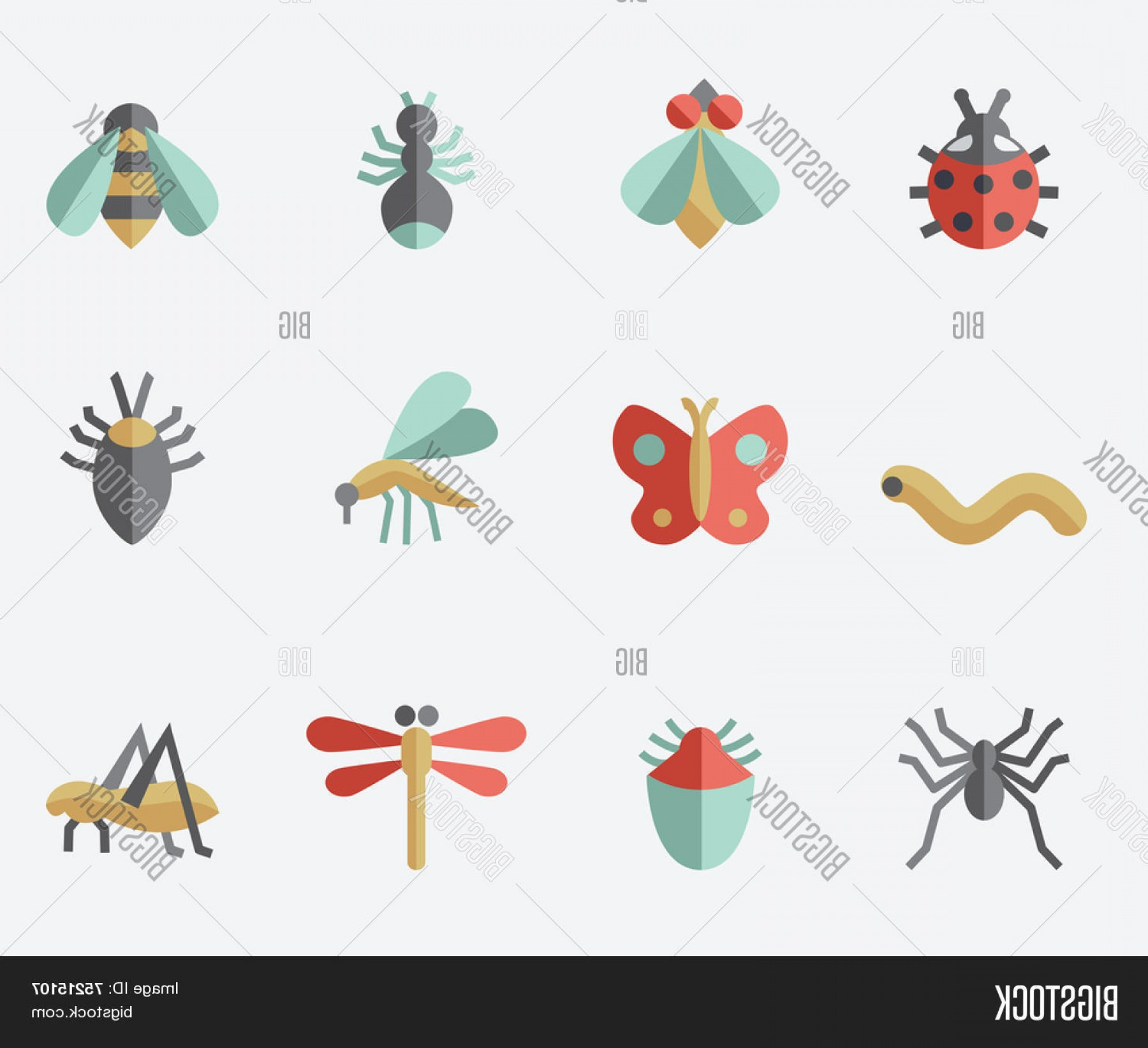 Vector Insect Light: Stock Vector Insect Iconsc Flat Design Setc Light Background
