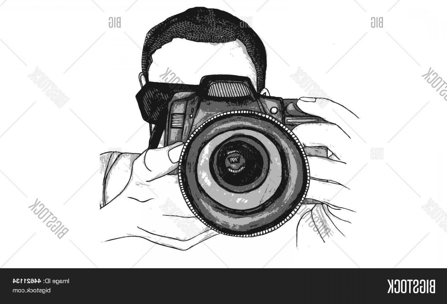 SLR Camera Vector: Stock Vector Isolated Vector Watercolour Illustration Of A Male Photographer With A Digital Slr Camera