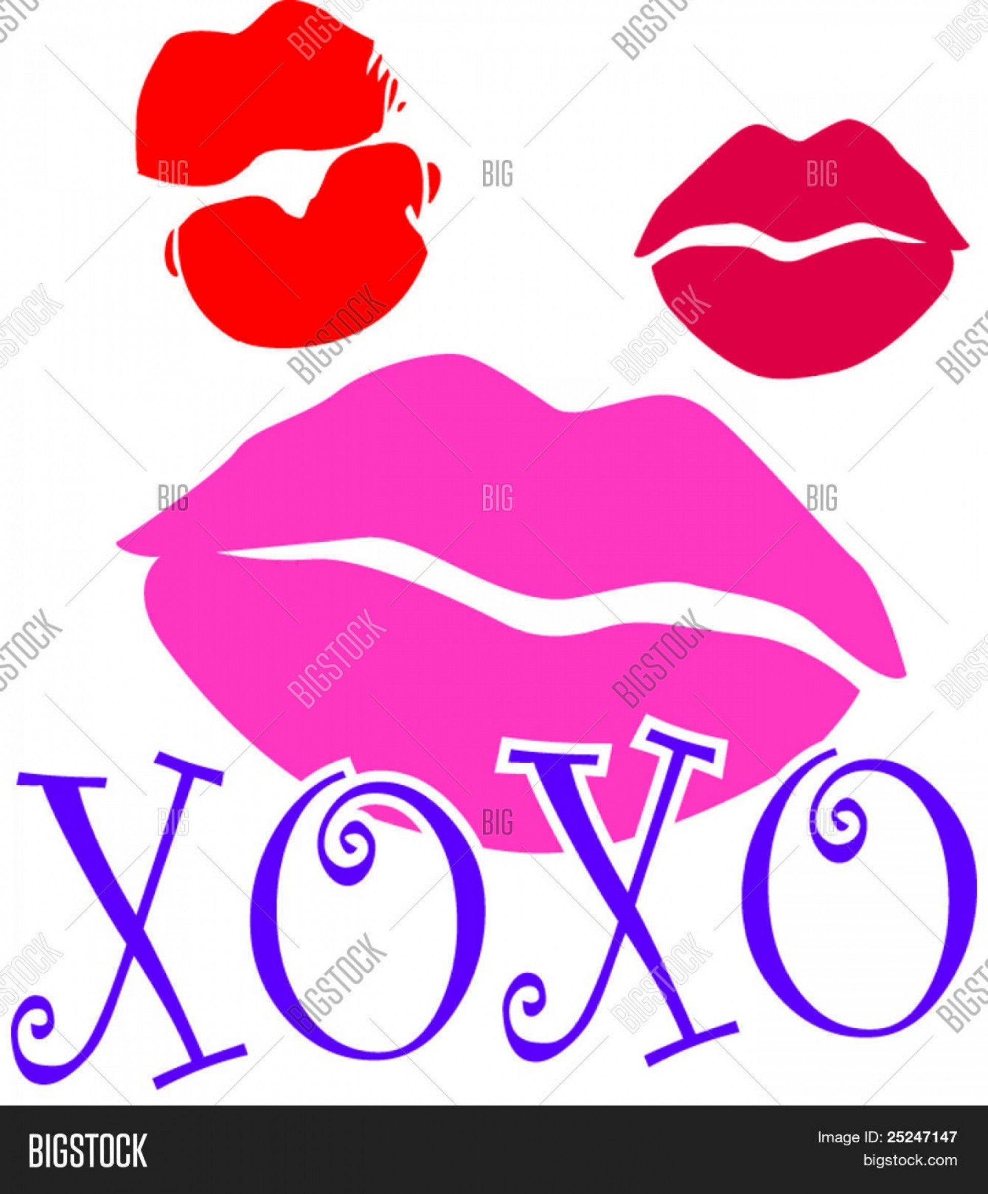 Kiss Clip Art Vector: Stock Vector Lipstick Kiss Marks With Xoxo Hugs And Kisses