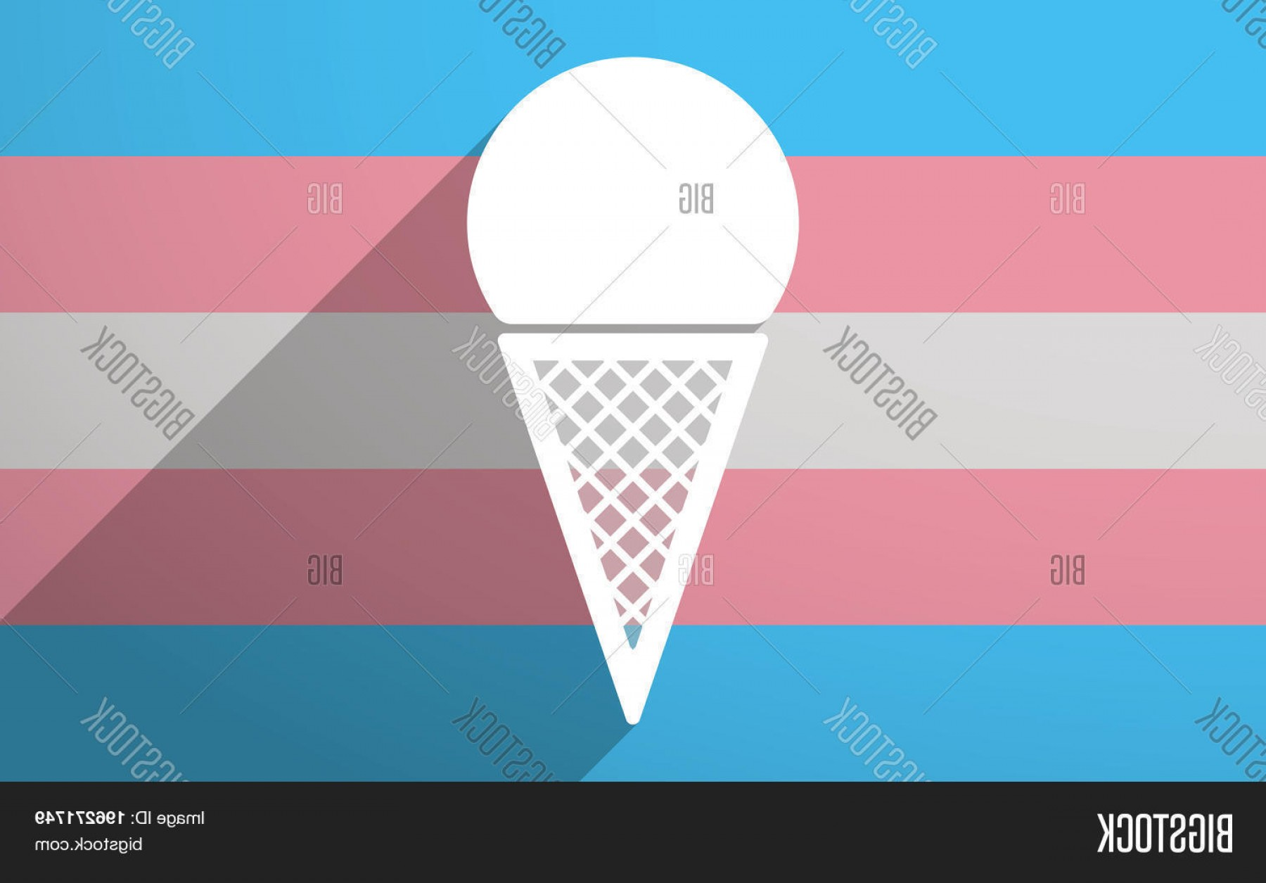 Snow Cone Vector Free: Stock Vector Long Shadow Trans Gender Flag With A Cone Ice Cream