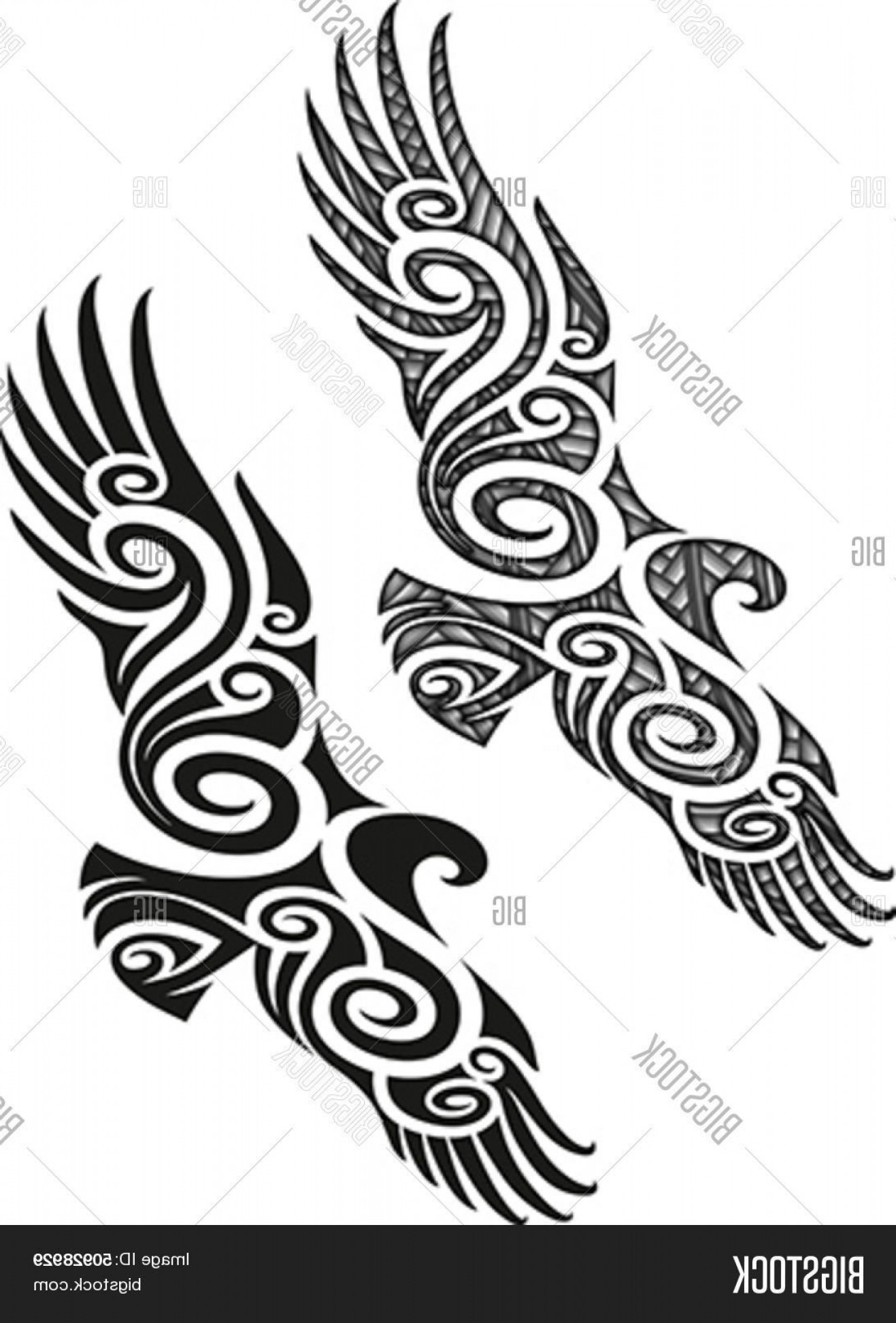 0520bf80788d1 Eagle Vector Tattoo: Stock Vector Maori Styled Tattoo Pattern In A Shape Of  Eagle Editable