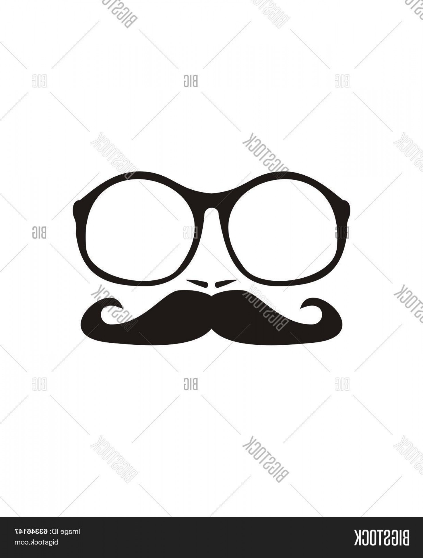 Mustache Face Vector: Stock Vector Men Face With Mustache And Hugec Hipster Oldschool Glasses Vector Illustration