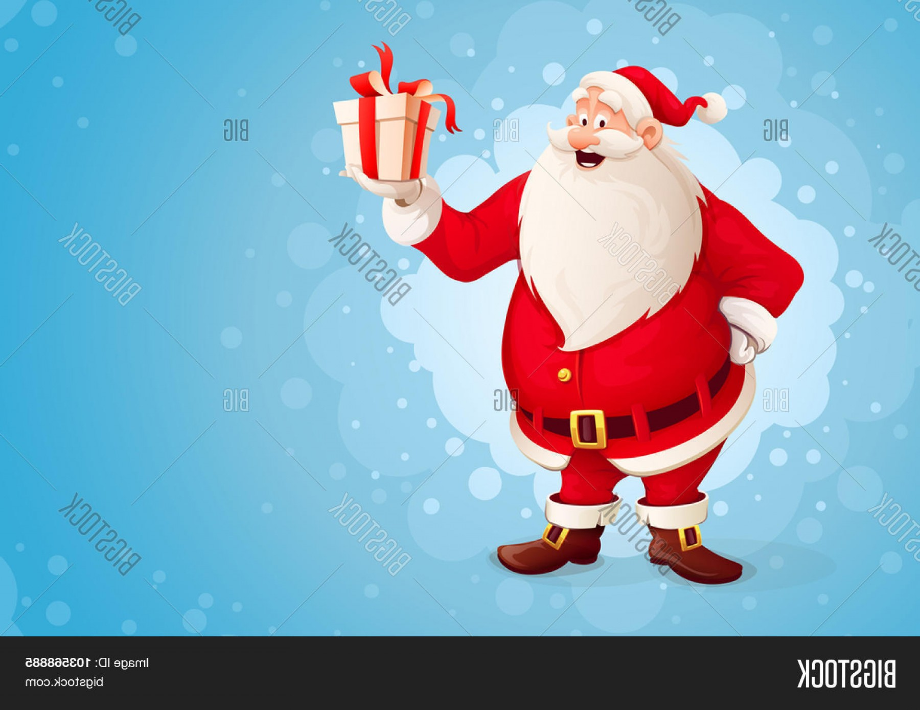 Santa Claus Vector Illustration: Stock Vector Merry Santa Claus Holds Christmas Gift In Box Vector Illustration Transparent Objects Used For Lights And Shadows Drawing
