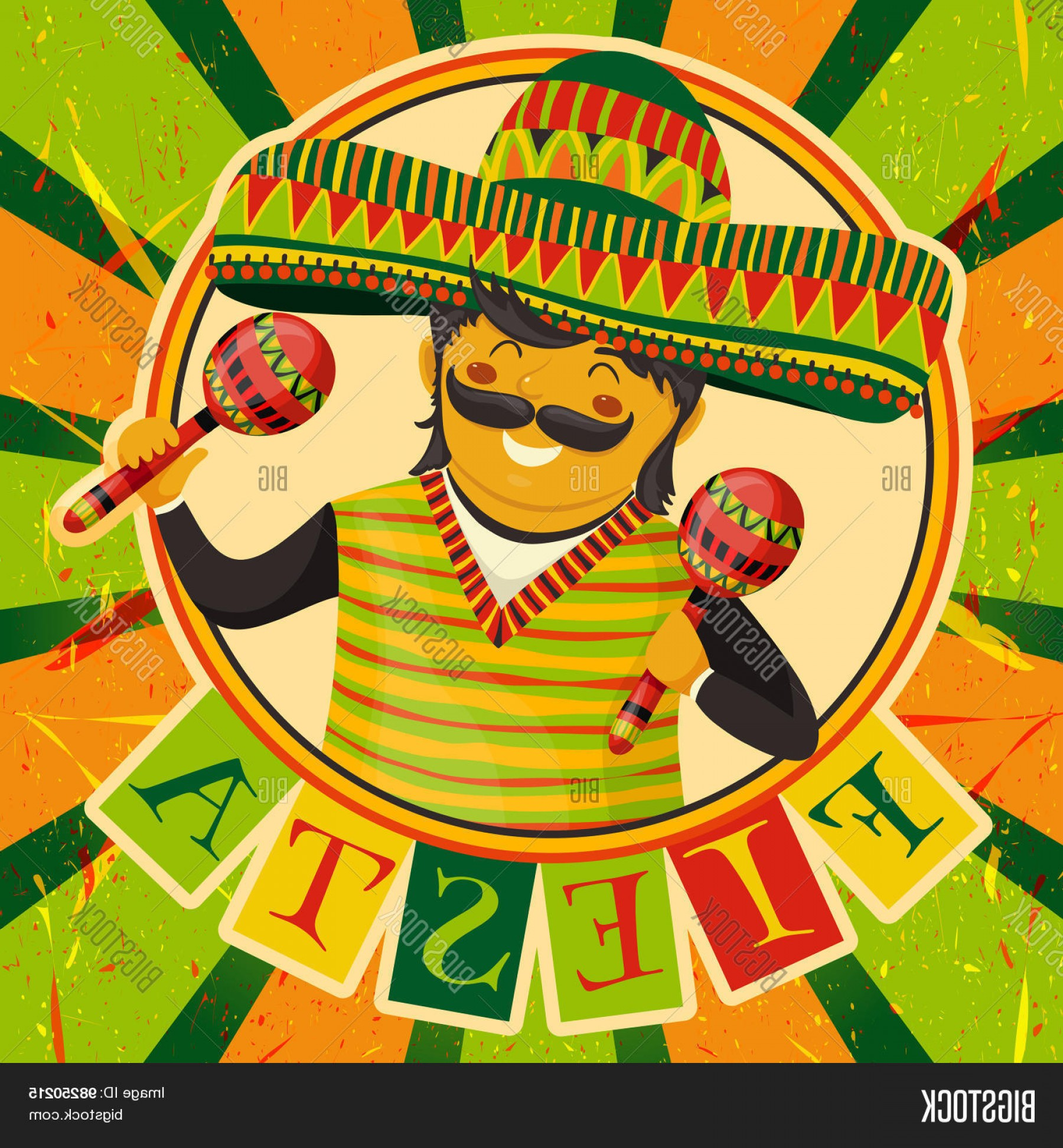 Fiesta Mexico Vector: Stock Vector Mexican Fiesta Party Invitation With Mexican Man Playing The Maracas In A Sombrero Hand Drawn Vecto