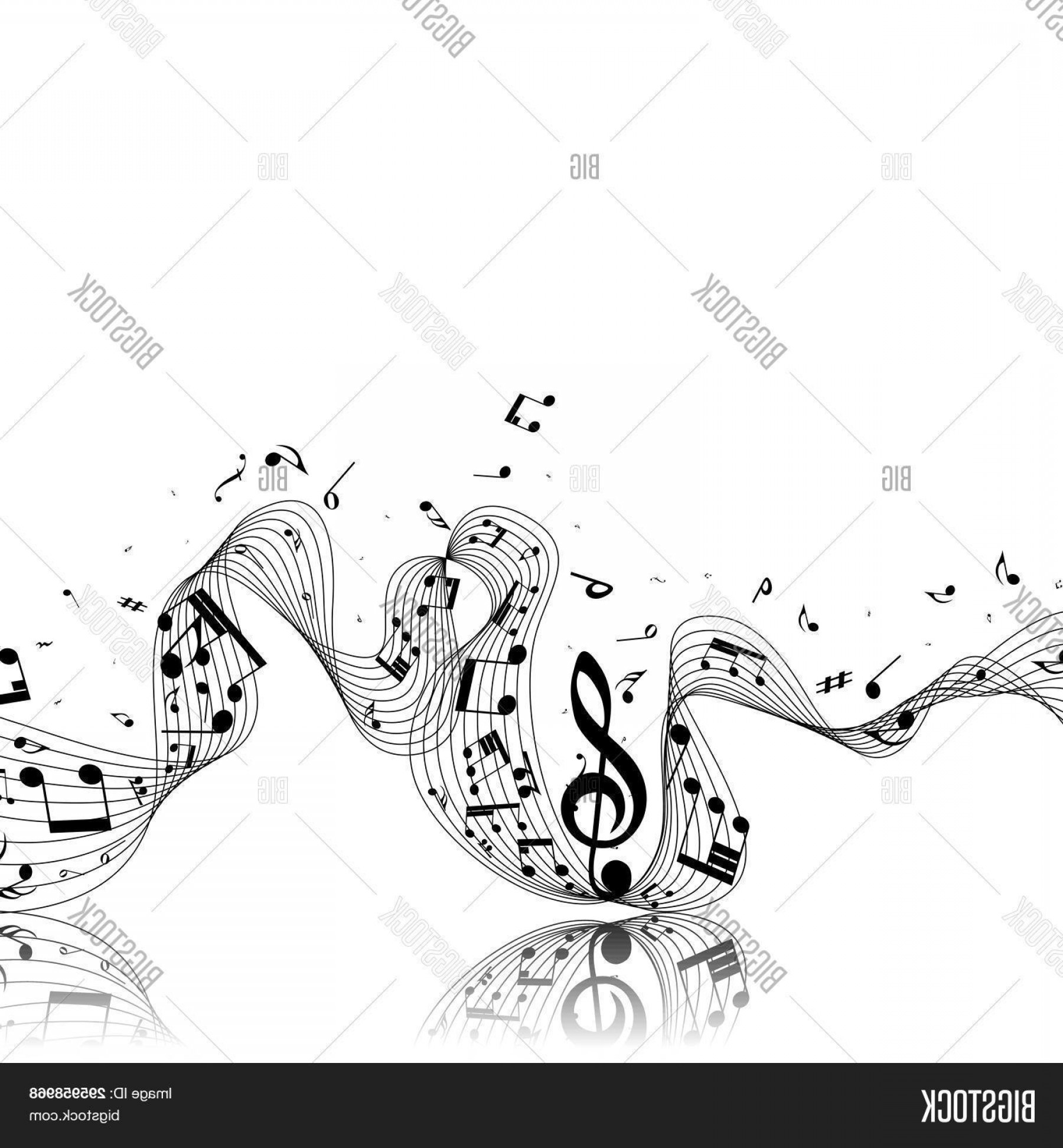 Musical Vector Artwork: Stock Vector Musical Design From Music Staff Elements With Treble Clef And Notes With Copy Space Shadow With Tra