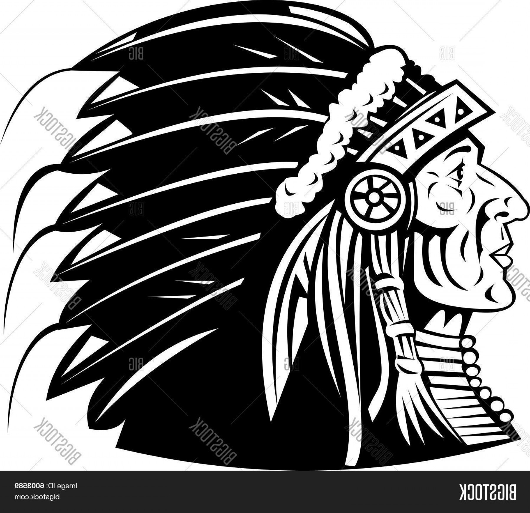 American Indian Chief Vector: Stock Vector Native American Indian Chief Cheyenne Headdress