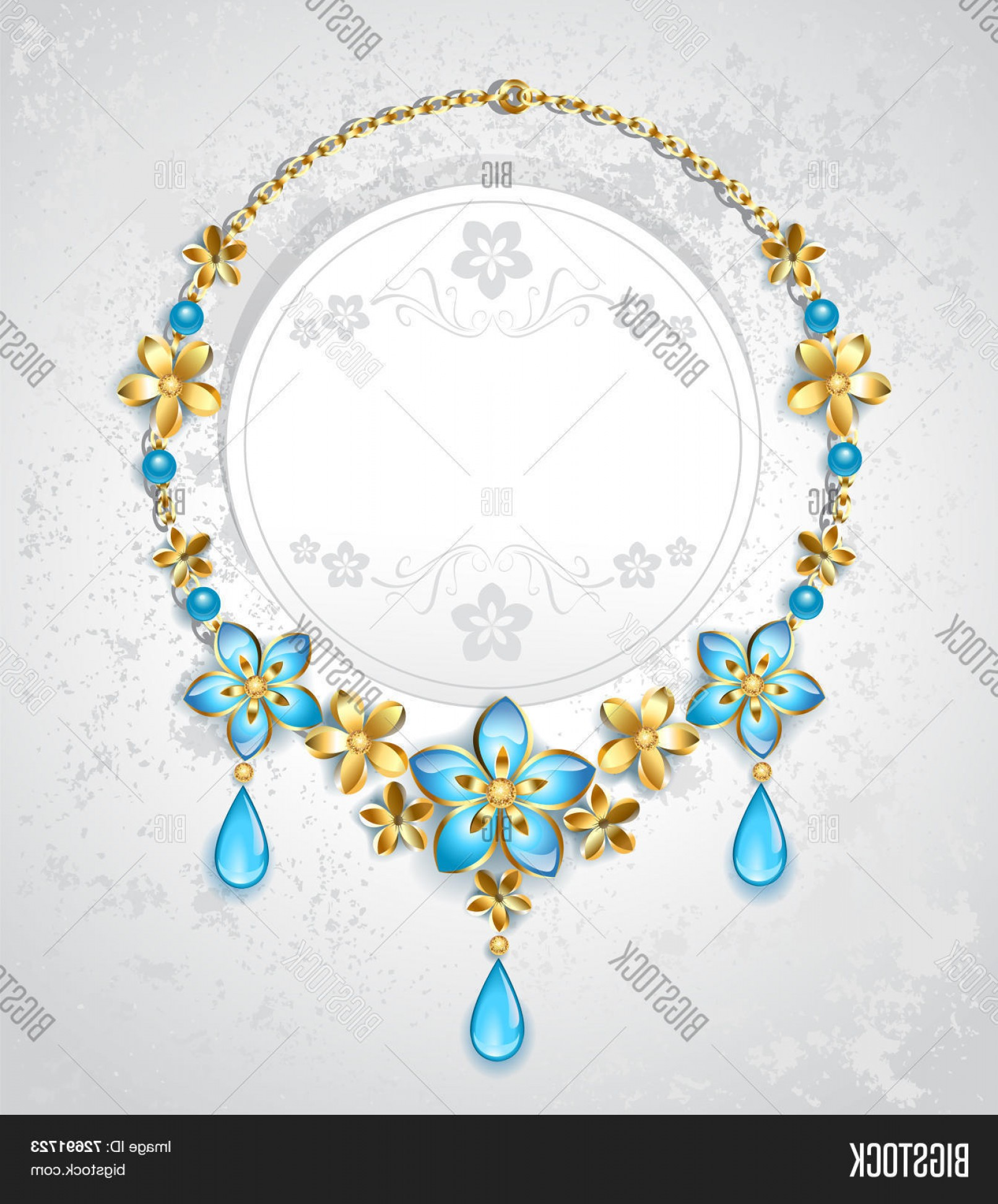 Gold And Blue Flower Vector: Stock Vector Necklace With Gold Flowers