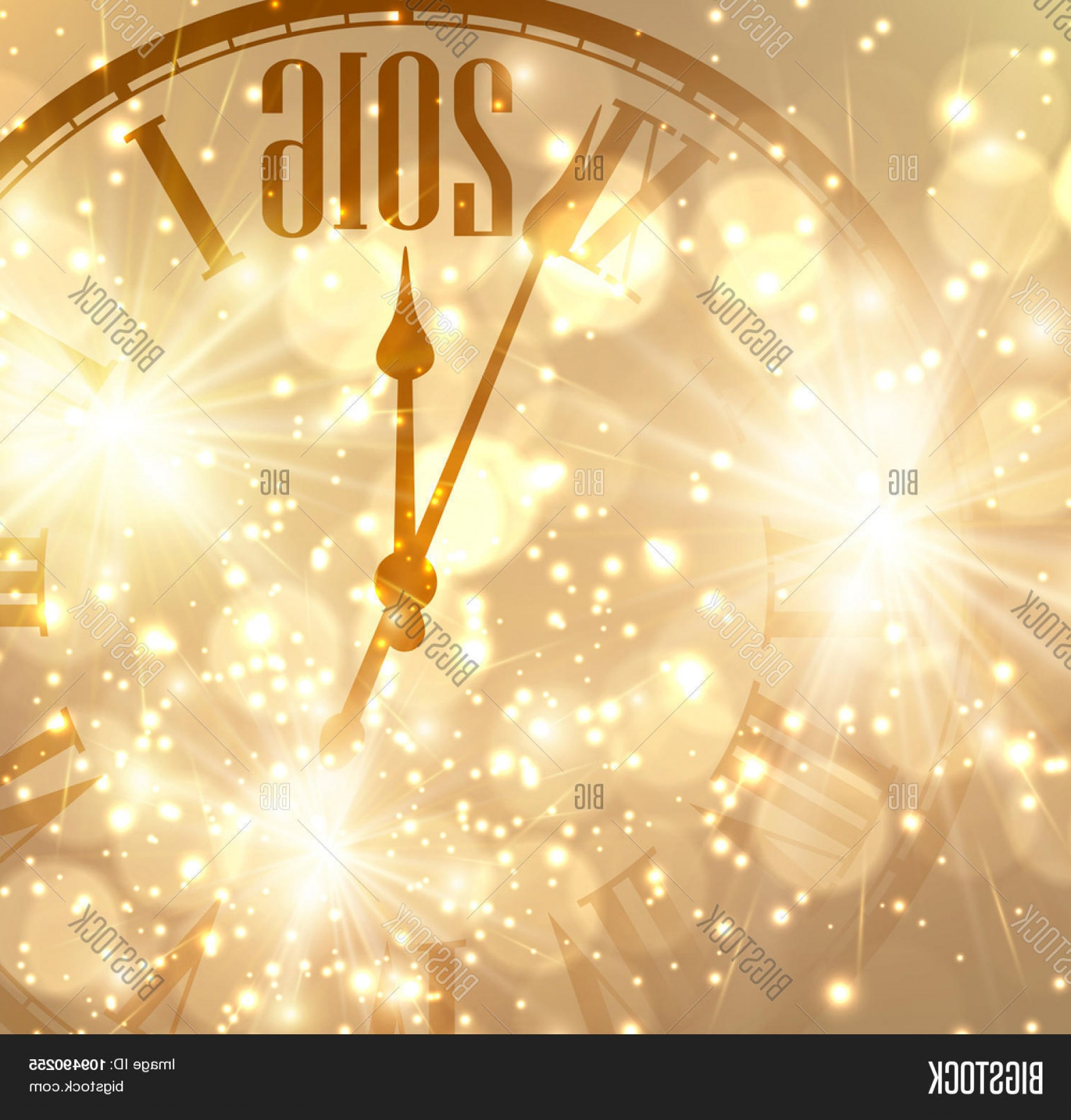 Vector New Year's Eve: Stock Vector New Year Shining Background With Clock Vector Illustration