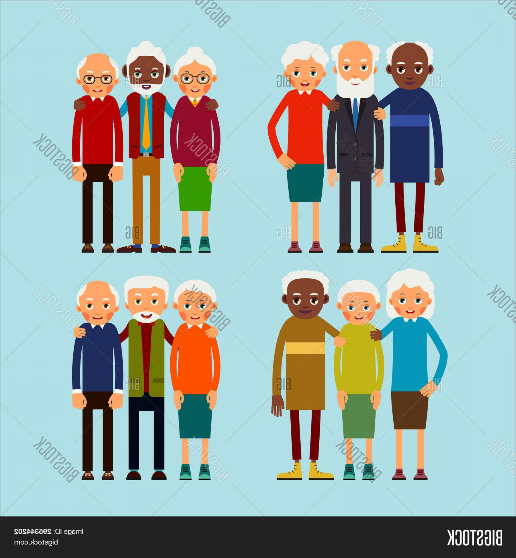 People Standing Vector: Stock Vector Old People Standing Elderly Men And Women Europeans And African American Ethnic Friends Senior Sta