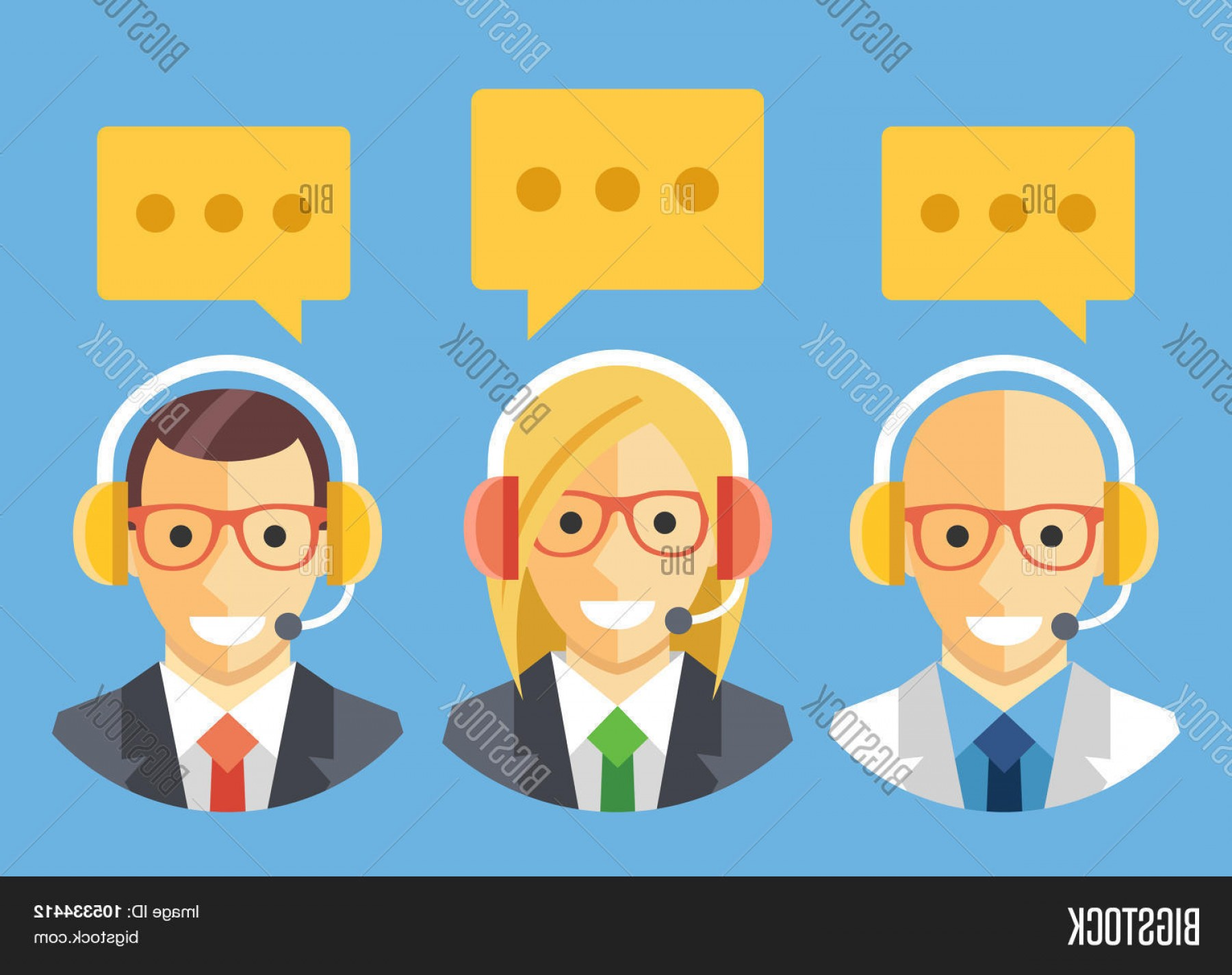 Support Staff Vector: Stock Vector People With Headset Technical Supportc Customer Supportc Call Center Staff Vector Flat Illustration